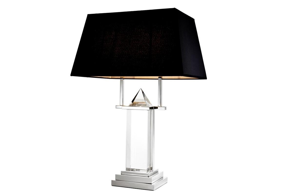 Настольная лампаДекоративные лампы<br>Настольная лампа на основании из никелированного металла. Текстильный абажур черного цвета скрывает лампу. Ваза выполнена их прозрачного стекла, декор в виде драгоценного камня.&amp;lt;div&amp;gt;&amp;lt;br&amp;gt;&amp;lt;/div&amp;gt;&amp;lt;div&amp;gt;&amp;lt;div&amp;gt;Цоколь: E27&amp;lt;/div&amp;gt;&amp;lt;div&amp;gt;Мощность лампы: 60W&amp;lt;/div&amp;gt;&amp;lt;div&amp;gt;Количество ламп: 2&amp;lt;/div&amp;gt;&amp;lt;/div&amp;gt;<br><br>Material: Металл<br>Width см: 50<br>Depth см: 24<br>Height см: 74