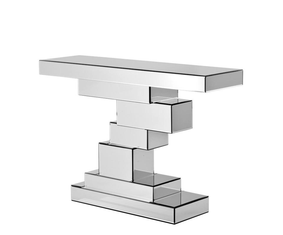 Консоль TennantИнтерьерные консоли<br>Консоль Console Table Tennant с оригинальным дизайном выполнена из зеркального стекла.<br><br>Material: Стекло<br>Width см: 118,5<br>Depth см: 33,5<br>Height см: 80