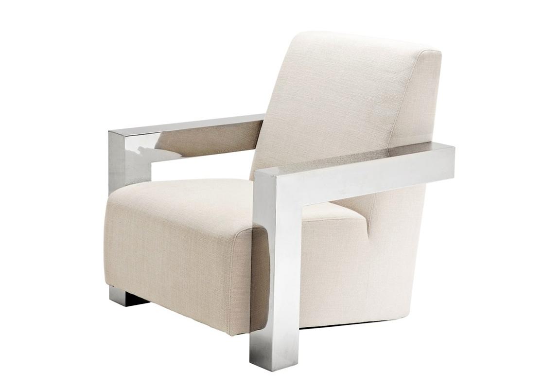 Кресло FrancoИнтерьерные кресла<br>Кресло с подлокотниками Chair Franco на ножках из нержавеющей стали. Кресло обтянуто тканью молочного цвета.<br><br>Material: Текстиль<br>Width см: 84<br>Depth см: 85<br>Height см: 85
