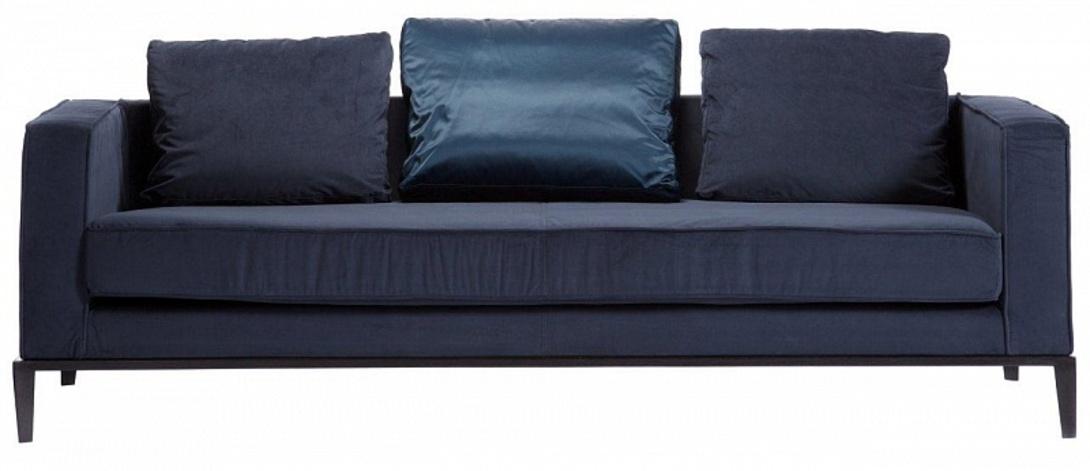 Диван  MichelТрехместные диваны<br>Этот низкий диван в текстильной обивке глубокого синего цвета выглядит и строго, и уютно: прямые подлокотники как бы продолжают спинку, а большие мягкие подушки, одна из которых в атласном чехле, дают ощущение покоя и комфорта. Каркас дивана деревянный, а ножки сделаны из нержавеющей стали. Сочетание синего с чёрным смотрится очень стильно.<br><br>Цвет: синий<br>Цвет каркаса: чёрный<br>Материал: деревянный каркас, ножки из нержавеющей стали<br>Обивка: ткань<br><br>Material: Текстиль<br>Length см: None<br>Width см: 217.0<br>Depth см: 90.0<br>Height см: 65.0<br>Diameter см: None