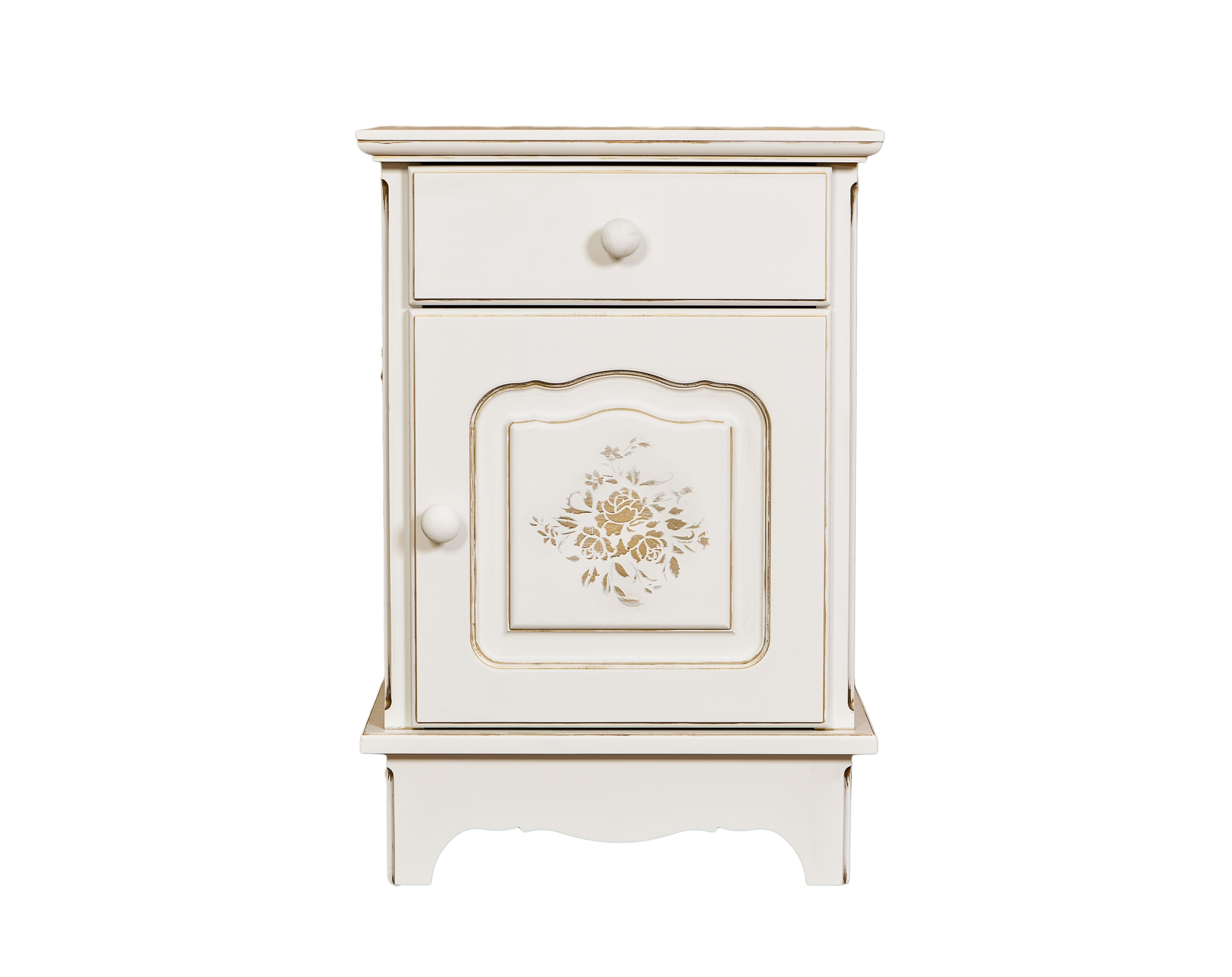 Тумбочка Belle Fleur PatineПрикроватные тумбы, комоды, столики<br>Белая тумбочка в стиле Прованс с золотой патиной и росписью. &amp;amp;nbsp;&amp;lt;div&amp;gt;&amp;lt;br&amp;gt;&amp;lt;/div&amp;gt;&amp;lt;div&amp;gt;Отделка: Belle Fleur Patine - золотая патина мягко переливается солнечными бликами на орнаменте из роз и на всех элементах мебели, благородный образ состаренной мебели в стиле Прованс.&amp;amp;nbsp;&amp;lt;/div&amp;gt;&amp;lt;div&amp;gt;Форма поставки: в собранном виде.&amp;lt;/div&amp;gt;<br><br>Material: Береза<br>Width см: 45<br>Depth см: 32,5<br>Height см: 65