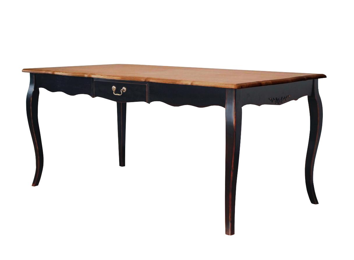 стол обеденныйОбеденные столы<br>Этот обеденный стол добавит романтизм любой трапезе. Особенно хорошо он будет смотреться на загородной веранде или террасе, но и в городскую столовую сможет привнести прованский шарм. Изящный силуэт, облагороженный патинированием, очарует элегантностью. Флористичные узоры из железа выступят в роли своеобразного герба прованса, возвеличивающего утонченную простоту этого стиля.<br><br>Material: Дерево<br>Length см: 145<br>Width см: 85<br>Height см: 77