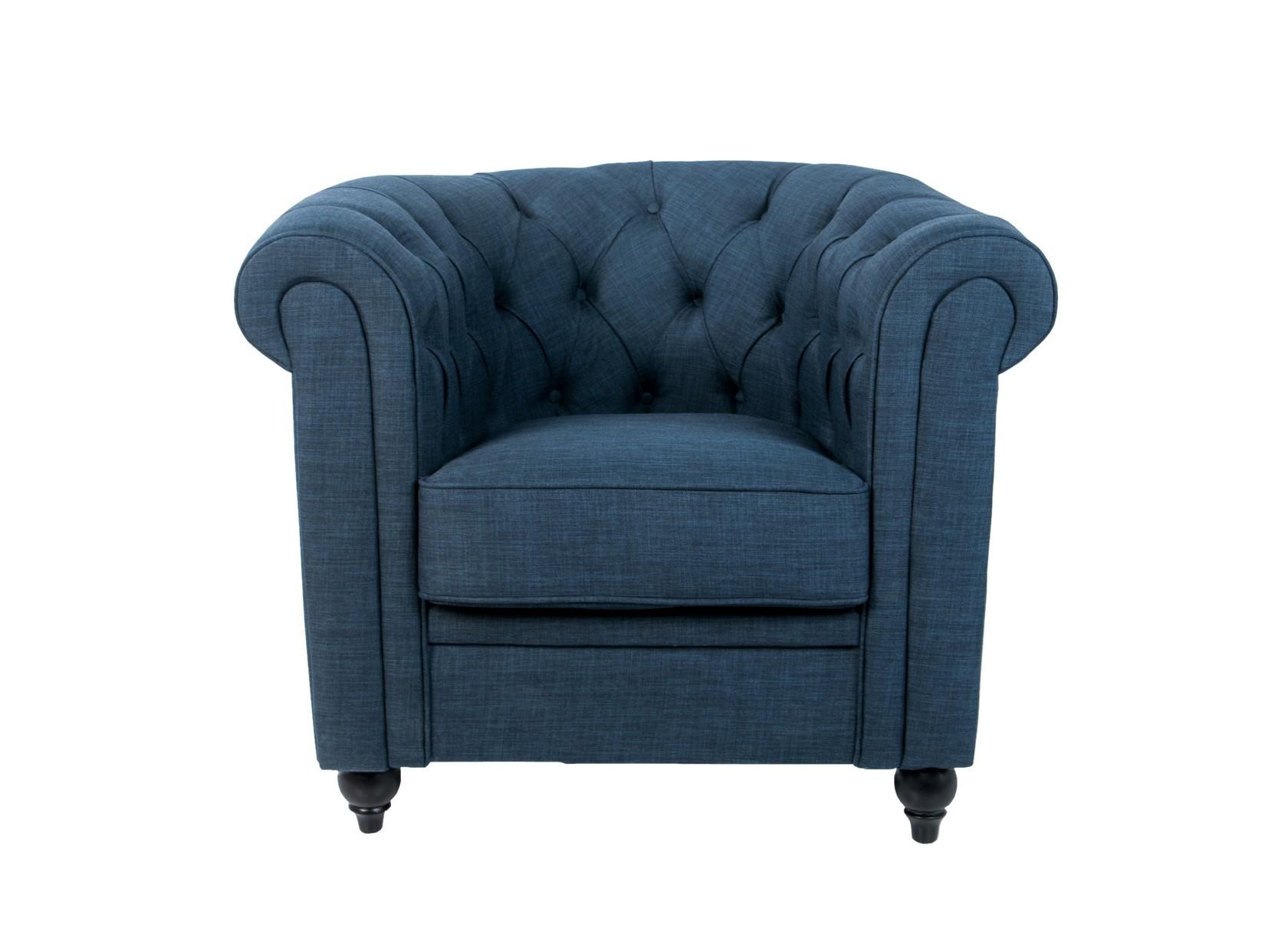 Кресло NalaИнтерьерные кресла<br>Nala — классическая модель кресла синего цвета, с объемной каретной стяжкой на пуговицах. По фасаду подлокотники декорированы мебельными гвоздями. Это шикарное кресло непременно станет вашим любимцем! Ведь оно такое мягкое и удобное, что отдых в нем — истинное удовольствие.<br><br>Material: Лен<br>Width см: 82<br>Depth см: 76<br>Height см: 71