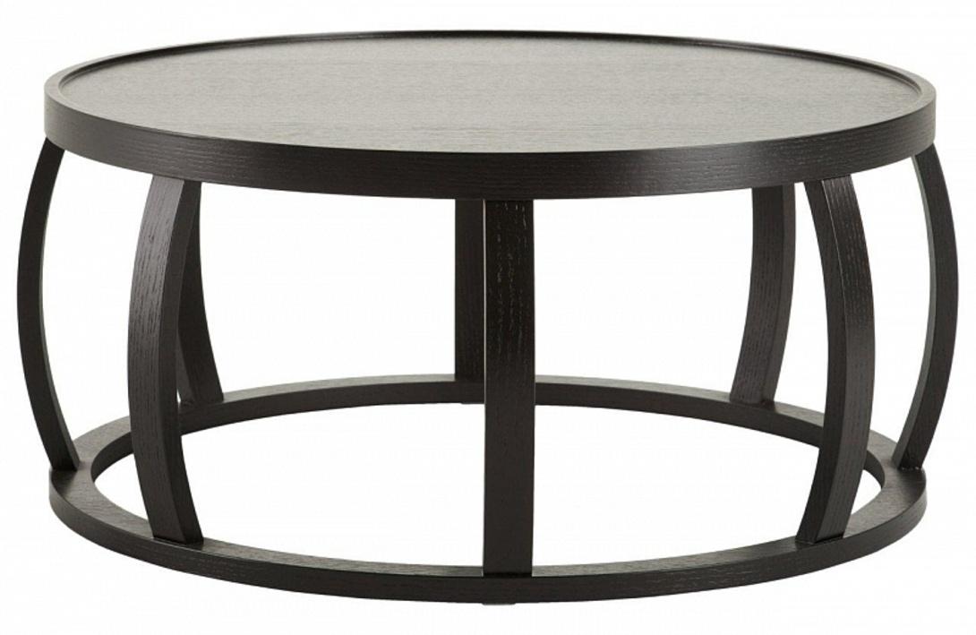 Журнальный стол  SantosЖурнальные столики<br>Этот похожий на каркас сплюснутой бочки столик одной своей формой способен создать уют -- округлые бока, легкость и контрастность.<br><br>Material: Дерево<br>Height см: 35<br>Diameter см: 80