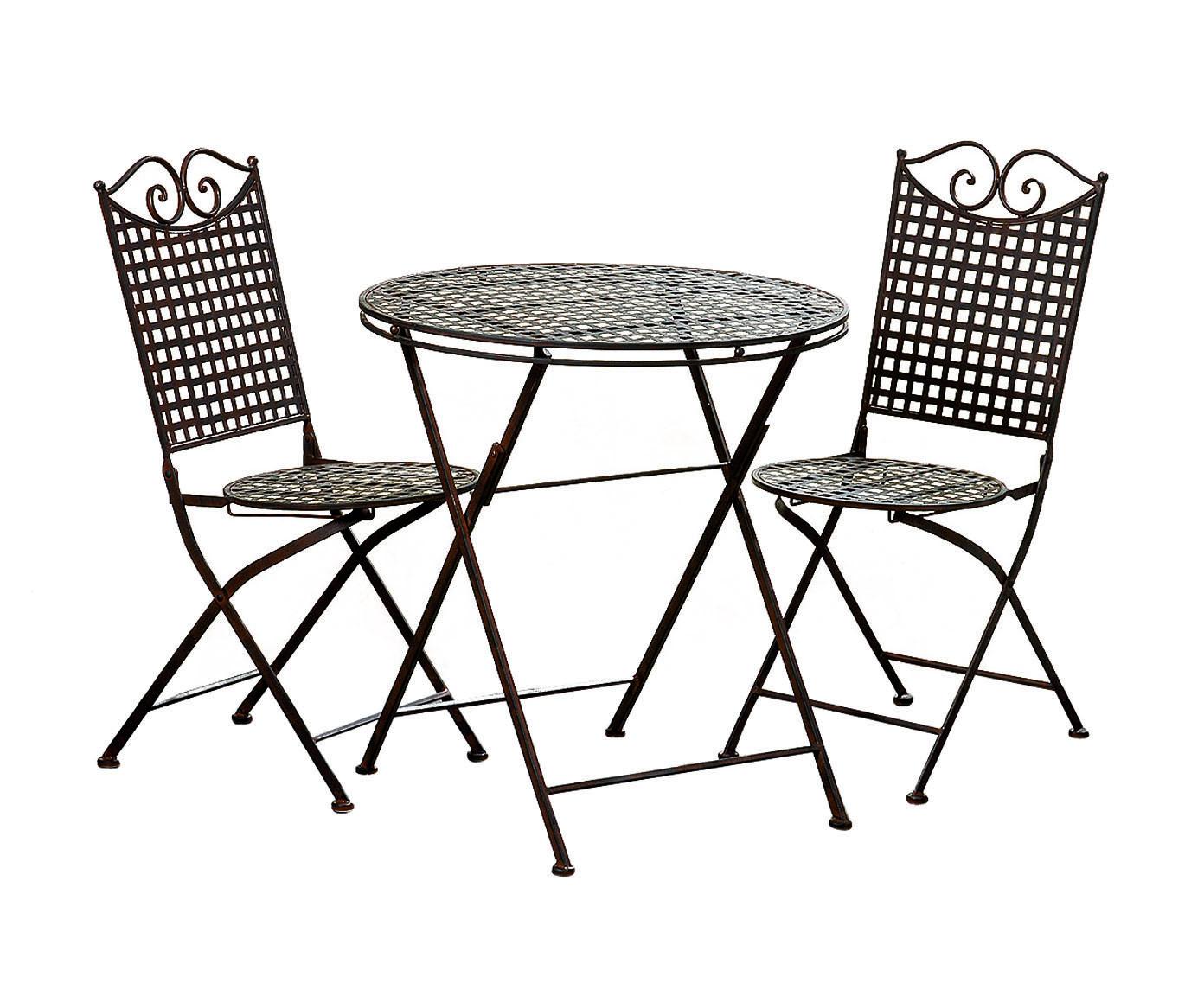 Набор садовой мебели LinaКомплекты уличной мебели<br>Элегантность и функциональность ? это идеальное сочетание объединилось при создании данного  комплекта садовой мебели.&amp;amp;nbsp;&amp;lt;div&amp;gt;&amp;lt;br&amp;gt;&amp;lt;/div&amp;gt;&amp;lt;div&amp;gt;В набор входят стол и 2 кресла.&amp;amp;nbsp;&amp;lt;/div&amp;gt;&amp;lt;div&amp;gt;Размеры столика: высота 74, диаметр 70;&amp;amp;nbsp;&amp;lt;/div&amp;gt;&amp;lt;div&amp;gt;Размеры стульев: высота 91, диаметр 38.&amp;lt;/div&amp;gt;&amp;lt;div&amp;gt;&amp;lt;br&amp;gt;&amp;lt;/div&amp;gt;<br><br>Material: Металл<br>Height см: 74<br>Diameter см: 70