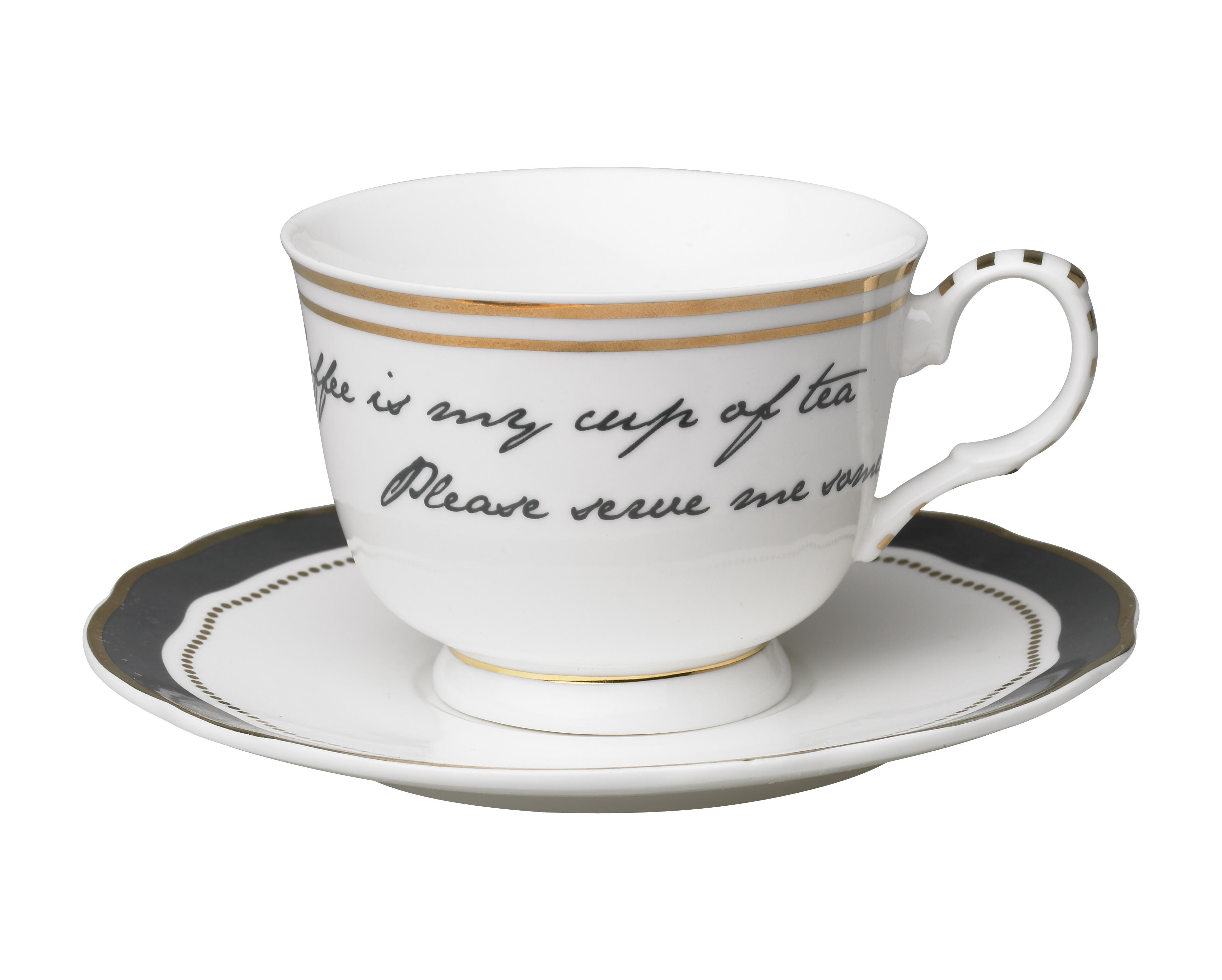 Набор из двух чашек с блюдцами My cup of teaЧайные пары, чашки и кружки<br>Набор из двух чайных пар с надписью. Создает подходящую атмосферу для уютного чаепития с близким человеком.&amp;amp;nbsp;&amp;lt;div&amp;gt;&amp;lt;br&amp;gt;&amp;lt;/div&amp;gt;&amp;lt;div&amp;gt;Размер чашки: высота 7,5, диаметр 9,5.&amp;amp;nbsp;&amp;lt;/div&amp;gt;&amp;lt;div&amp;gt;Размер блюдца: высота 2, диаметр 16.&amp;lt;/div&amp;gt;<br><br>Material: Фарфор<br>Height см: 7,5<br>Diameter см: 9,5