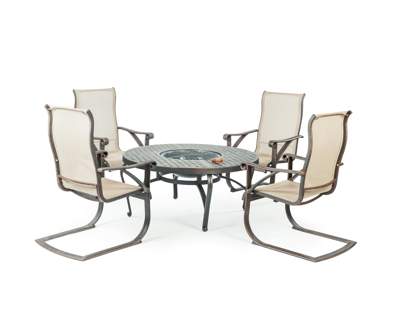Набор мебели ЭТНАКомплекты уличной мебели<br>&amp;lt;div&amp;gt;В качестве «обивки» кресел применен текстилен – плетеное полотно из полиэстера с полихлорвиниловым покрытием. Этот материал устойчив к УФ-излучению, пропускает воздух, и плюс ко всему обладает отталкивающими от грязи свойствами.&amp;lt;/div&amp;gt;&amp;lt;div&amp;gt;Литой алюминий является более предпочтительным материалом для садовой мебели, поскольку он не только устойчив к коррозии, но и имеет легкий вес. Такая мебель лучше гармонирует с современными стилями, помимо классики, все чаще встречаются модели оригинального органического и футуристического дизайна. Преимущества мебели - способна выдержать любые капризы природы, можно даже оставить под открытым небом на зиму.&amp;lt;/div&amp;gt;&amp;lt;div&amp;gt;&amp;lt;br&amp;gt;&amp;lt;/div&amp;gt;&amp;lt;div&amp;gt;Размер стола: диаметр 121 см; диаметр чаши 56 см; в&amp;lt;span style=&amp;quot;line-height: 1.78571;&amp;quot;&amp;gt;ысота - 56 см.&amp;lt;/span&amp;gt;&amp;lt;/div&amp;gt;&amp;lt;div&amp;gt;Размер стульев (4 шт): глубина 55 см; ширина 51 см; высота подлокотников 55 см; высота спинки 106 см.&amp;lt;/div&amp;gt;<br><br>Material: Алюминий<br>Height см: 56<br>Diameter см: 121