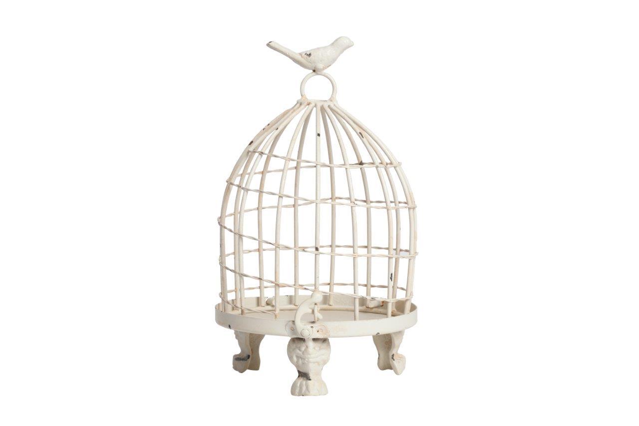 Декоративная клетка Articoli Piccolo CreamДругое<br>Декоративная клетка Articoli Piccolo — изготовлена из никелированного металла со съемным днищем. Ручка декорирована маленькой птичкой. Данный аксессуар в стиле Прованс можно использовать в зависимости от вашей фантазии в оформлении любого интерьера. Оставить её пустой или запереть что-либо внутрь, поставить на хранение — в этом вы вольны сделать свой выбор. Ясно одно, этот элемент декора однозначно привлечет внимание ваших гостей.<br><br>Material: Металл<br>Height см: 24<br>Diameter см: 15