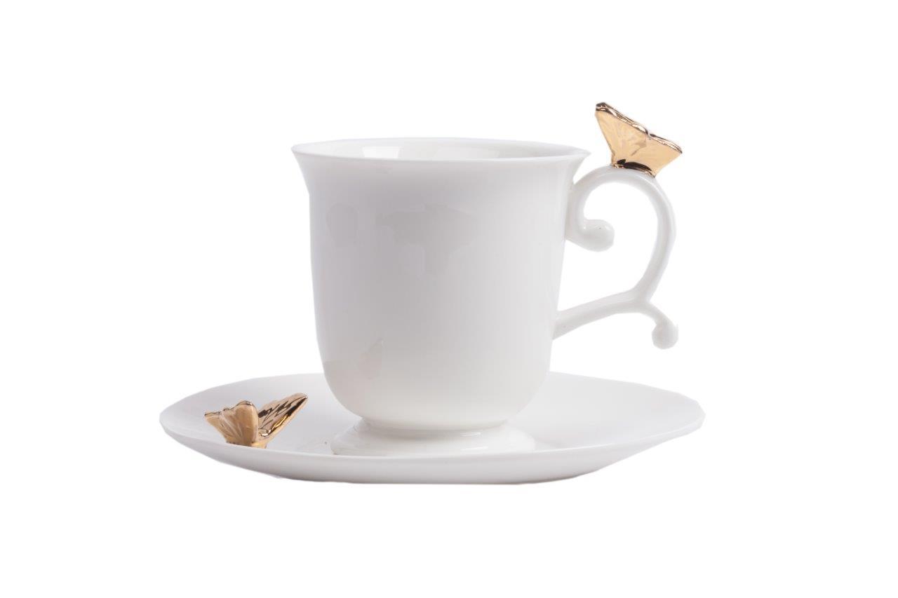 Чайная пара PresenteЧайные пары и чашки<br>Чайная пара Presente — это белоснежная керамика, лучшее качество от производителя, элегантность формы. Золотые бабочки, присевшие на изящную ручку чашки и край блюдца, заставляют влюбиться в эту пару с первого взгляда.<br><br>Material: Керамика<br>Height см: 8<br>Diameter см: 12,2