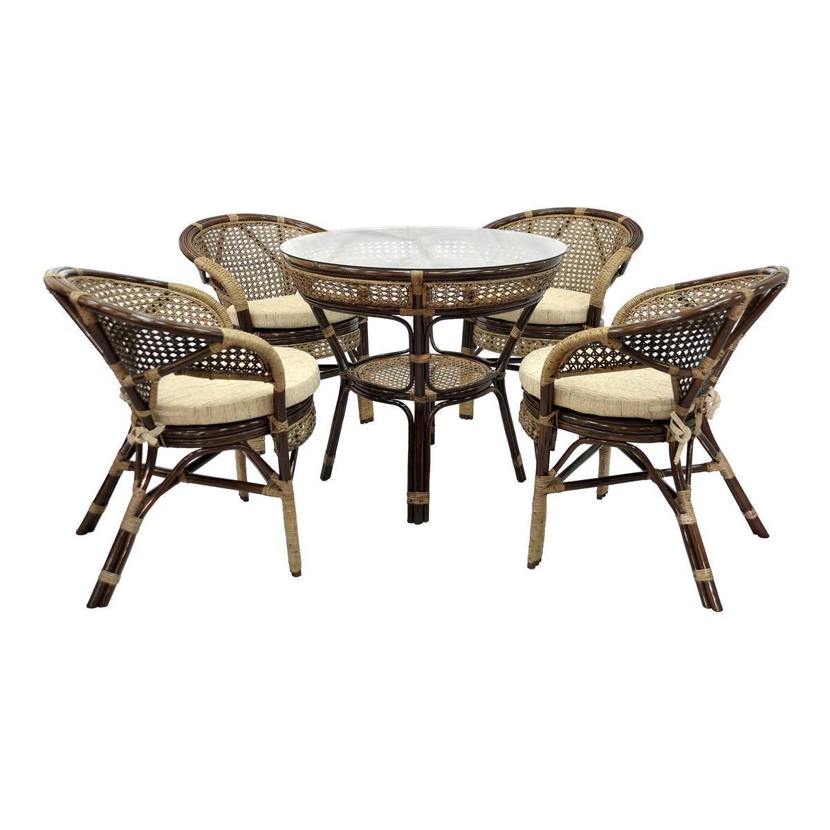 Комплект обеденный JavaКомплекты уличной мебели<br>Эксклюзивная модель.  Несмотря на изящное плетение из ротанга, этот комплект мебели может выдерживать большой вес. Удобные анатомические спинки придадут особый комфорт вашей спине. Комплектация: четыре кресла,  мягкие подушки (на сидение), столик со стеклом (на присосках)&amp;lt;div&amp;gt;&amp;lt;br&amp;gt;&amp;lt;/div&amp;gt;&amp;lt;div&amp;gt;Материал каркаса:  натуральный ротанг&amp;lt;/div&amp;gt;&amp;lt;div&amp;gt;Цвет:  браун (коричневый)&amp;lt;/div&amp;gt;&amp;lt;div&amp;gt;Мягкая обивка/подушка:  ткань рогожка&amp;lt;/div&amp;gt;&amp;lt;div&amp;gt;Размер&amp;lt;span style=&amp;quot;line-height: 1.78571;&amp;quot;&amp;gt;&amp;amp;nbsp;столика: 83х75х83 см&amp;lt;/span&amp;gt;&amp;lt;/div&amp;gt;&amp;lt;div&amp;gt;&amp;lt;span style=&amp;quot;line-height: 1.78571;&amp;quot;&amp;gt;Размер кресла: 66х70х78 см&amp;amp;nbsp;&amp;lt;/span&amp;gt;&amp;lt;/div&amp;gt;&amp;lt;div&amp;gt;&amp;lt;span style=&amp;quot;line-height: 1.78571;&amp;quot;&amp;gt;Выдерживаемая нагрузка, кг:  100&amp;lt;/span&amp;gt;&amp;lt;/div&amp;gt;<br><br>Material: Ротанг<br>Height см: 75<br>Diameter см: 83