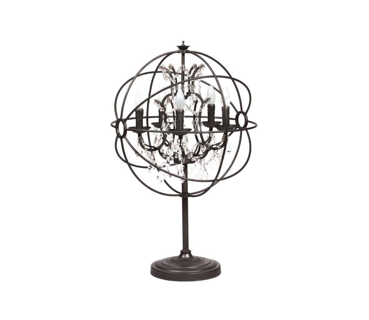 Настольная лампа Foucaults Orb CrystalНастольные лампы<br>Как правило, подобрать подходящий под стиль светильник при создании средневекового стиля непросто, ведь мало производителей берутся за изготовление осветительных приборов, чей образ не пользуется сегодня широкой популярностью. Но настольная лампа Foucault&amp;#39;s Orb — это именно то, что максимально точно вольется в интерьер вашей комнаты и поможет воссоздать средневековую атмосферу в полной мере. Настольная лампа — без абажура, вместо него — металлические сферы, вместо одного — целый букет из пяти подсвечников. Светильник для любителей простых, но в то же время изобретательно исполненных решений. В основе конструкции лампы лежит металл, поэтому её каркас устойчивый и прочный. Искусственные свечи соединяют воедино современность и средние века, что является довольно креативным решением. Лампа Foucault&amp;#39;s Orb создаст мягкий свет и не будет напрягать своей яркостью и резкостью, поэтому идеально впишется в любое помещение. Предназначена для использования со светодиодными лампами.&amp;lt;div&amp;gt;&amp;lt;br&amp;gt;&amp;lt;/div&amp;gt;&amp;lt;div&amp;gt;&amp;lt;div style=&amp;quot;line-height: 24.9999px;&amp;quot;&amp;gt;Цоколь: E27&amp;lt;/div&amp;gt;&amp;lt;div style=&amp;quot;line-height: 24.9999px;&amp;quot;&amp;gt;Мощность лампы: 40W&amp;lt;/div&amp;gt;&amp;lt;div style=&amp;quot;line-height: 24.9999px;&amp;quot;&amp;gt;Количество ламп: 5&amp;lt;/div&amp;gt;&amp;lt;/div&amp;gt;<br><br>Material: Хрусталь<br>Width см: 55<br>Depth см: 40<br>Height см: 30