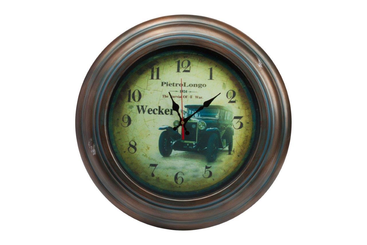 Настенные часы LeytonНастенные часы<br>Настенные часы Wecker в металлическом корпусе круглой формы, в стиле Прованс, с изображением старого автомобиля на зелёном циферблате. Купите в качестве подарка вашим близким и друзьям.&amp;amp;nbsp;&amp;lt;span style=&amp;quot;line-height: 24.9999px;&amp;quot;&amp;gt;Кварцевый механизм.&amp;lt;/span&amp;gt;<br><br>Material: Металл<br>Depth см: 6<br>Diameter см: 43