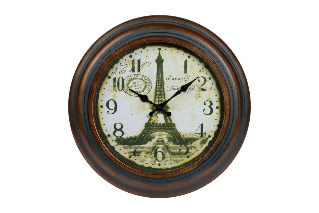 Настенные часы NorbertНастенные часы<br>Настенные часы Norbert в металлическом, немного состаренном корпусе, круглой формы, в стиле Прованс, с изображением Эйфелевой башни подойдут в качестве подарка вашим близким и друзьям.&amp;amp;nbsp;&amp;lt;span style=&amp;quot;line-height: 24.9999px;&amp;quot;&amp;gt;Кварцевый механизм.&amp;lt;/span&amp;gt;<br><br>Material: Металл<br>Глубина см: 6