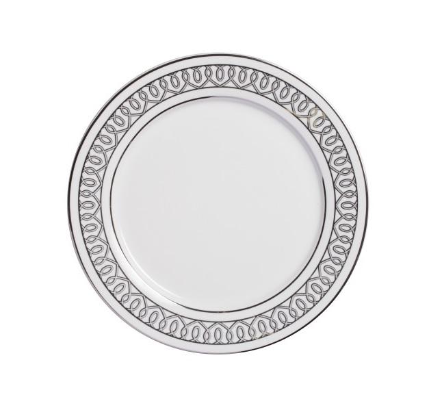 Тарелка PrincessТарелки<br>Тарелка классической формы изготовлена из высококачественного белого фарфора. По краю тарелки нанесен орнамент в виде изящных завитков  в  светло-сером  цвете. Тарелка  декорирована  весьма элегантно, и заслуживает внимания покупателей.  Тарелку   можно приобрести отдельно или в комплекте с другими столовыми предметами  из серии.<br><br>Material: Фарфор<br>Height см: 1<br>Diameter см: 25