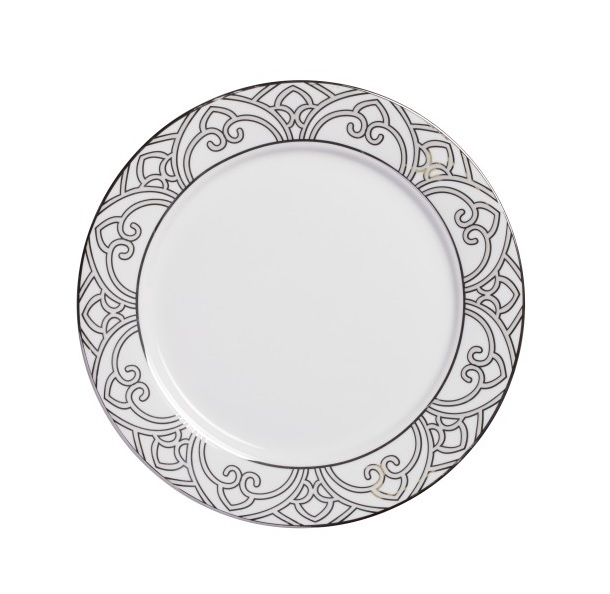 Тарелка PatternsТарелки<br>Тарелка классической формы изготовлена из фарфора белого цвета  с нанесением по краю восточного орнамента  в сером цвете. Тарелка  декорирована  весьма элегантно, и заслуживает внимания покупателей.  Тарелку   можно приобрести отдельно или в комплекте с другими столовыми предметами  из серии.<br><br>Material: Фарфор<br>Height см: 1<br>Diameter см: 25