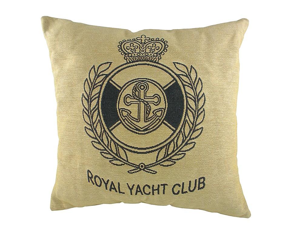 Подушка с гербом Королевского Royal Yacht ClubКвадратные подушки и наволочки<br>Маленькая серая подушка квадратной формы, с одной стороны покрыта хлопковой тканью с гербом Королевского яхт-клуба Royal Yacht Club, отлично подойдет для отдыха на яхте. Подушка является отличным сувениром и оригинальным подарком.<br><br>Material: Хлопок<br>Width см: 46<br>Depth см: 10<br>Height см: 46