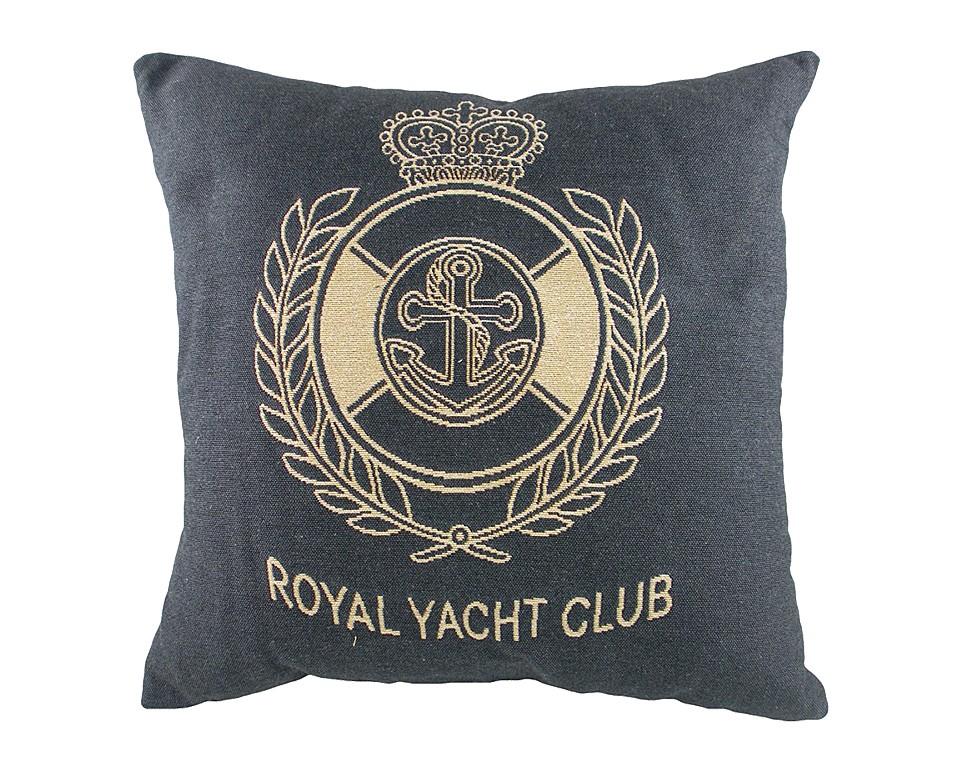 Подушка с гербом Королевского Royal Yacht Club DenimКвадратные подушки и наволочки<br>Маленькая синяя подушка квадратной формы, с одной стороны покрыта хлопковой тканью с гербом Королевского яхт-клуба Royal Yacht Club, отлично подойдет для отдыха на яхте. Подушка является отличным сувениром и оригинальным подарком.<br><br>Material: Хлопок<br>Ширина см: 46<br>Высота см: 46<br>Глубина см: 10