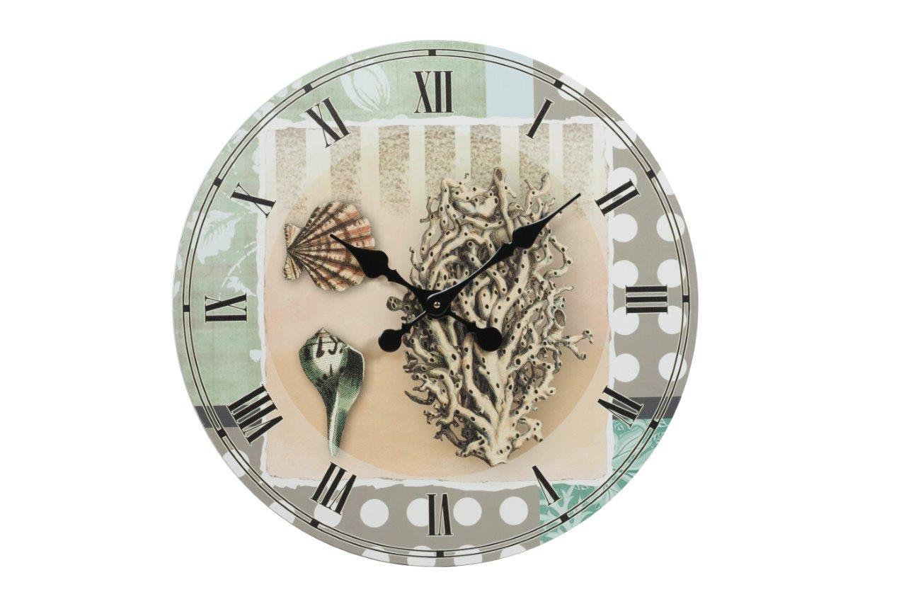 Настенные часы MaritempoНастенные часы<br>Настенные часы Maritempo — роскошный, но в то же время изысканный элемент декора помещения, оформленного в модном кантри-стиле. Изготовленные из прочного картона и оснащенные качественным часовым механизмом они прослужат вам долгие годы. Оригинальные морские мотивы — ракушки и кораллы — на нежном фоне не оставят равнодушным ни одного ценителя красивых вещей. Украсьте свой дом со вкусом!&amp;amp;nbsp;Кварцевый механизм.<br><br>Material: Картон<br>Depth см: 1<br>Diameter см: 61