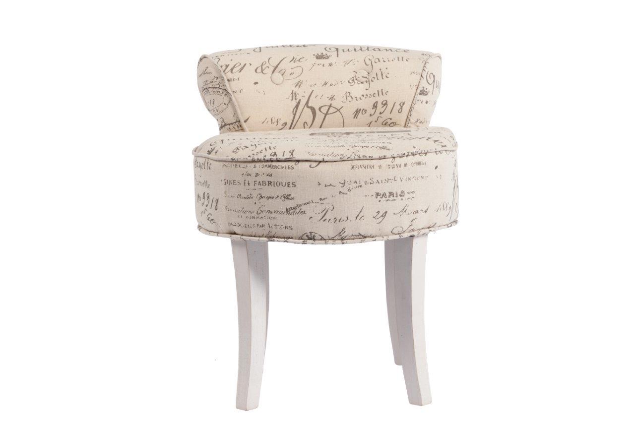 Стул PierreПолукресла<br>Небольшой, но очень милый стул Pierre — прекрасное приобретение для ценителей роскоши и шика, изысканности и аристократичности. Предмет мебели изготовлен из дерева и обит льном – практичной в использовании тканью. По всей поверхности сиденья имеются неброские надписи, придающие особый шарм аксессуару. Такой стул непременно украсит собой ваш дом в стиле «прованс» и подарит вам незабываемые минуты покоя.<br><br>Material: Лен<br>Width см: 46<br>Depth см: 49<br>Height см: 58