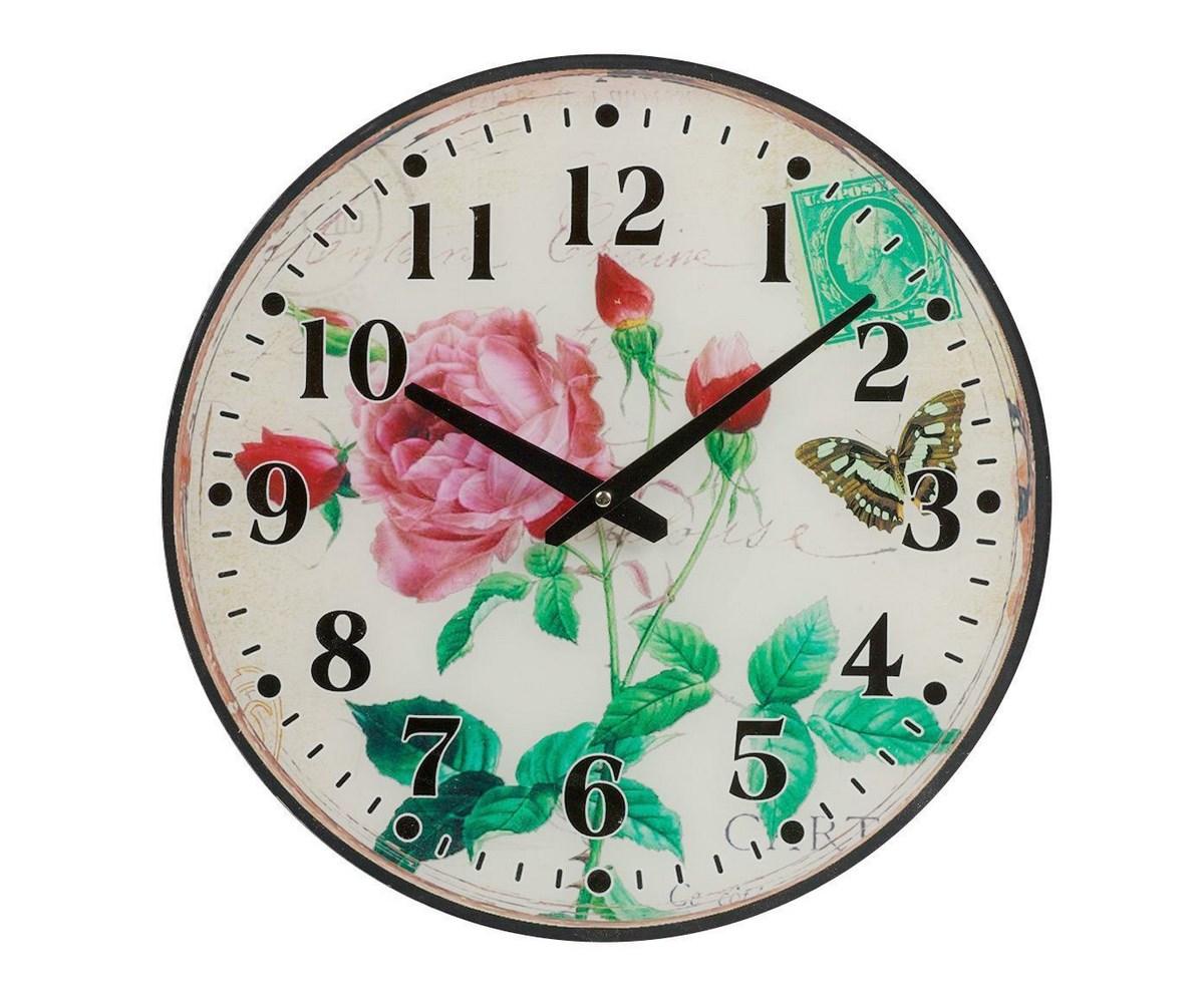 Настенные часы RoseНастенные часы<br>Настенные часы Rose — это изысканный элемент декора в стиле Прованс. Приятные пастельные тона, растительные мотивы, милые бабочки, винтажный вид — все это позволяет аксессуару удачно гармонировать с общей картиной помещения, наполняя его деревенским очарованием и шармом. Такие часы несомненно станут удачным приобретением для себя или же прекрасным подарком близкому человеку. Кварцевый механизм.<br><br>Material: Стекло<br>Width см: 34<br>Depth см: 4<br>Height см: 39