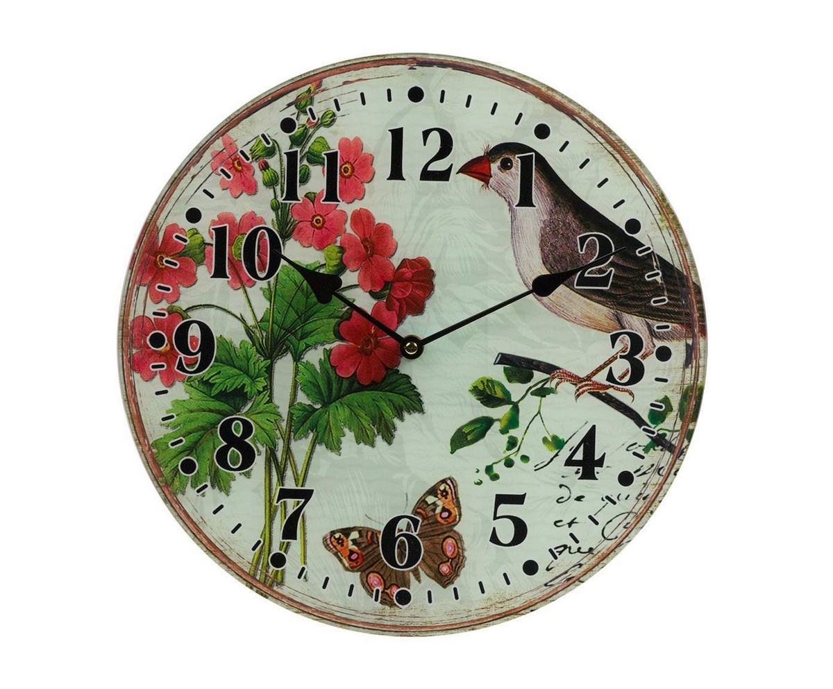 Настенные часы FleurНастенные часы<br>Настенные часы Fleur — это изысканный элемент декора в стиле Прованс. Приятные пастельные тона, растительные мотивы, милые птицы, винтажный вид — все это позволяет аксессуару удачно гармонировать с общей картиной помещения, наполняя его деревенским очарованием и шармом. Такие часы несомненно станут удачным приобретением для себя или же прекрасным подарком близкому человеку. Кварцевый механизм.<br><br>Material: Стекло<br>Глубина см: 4
