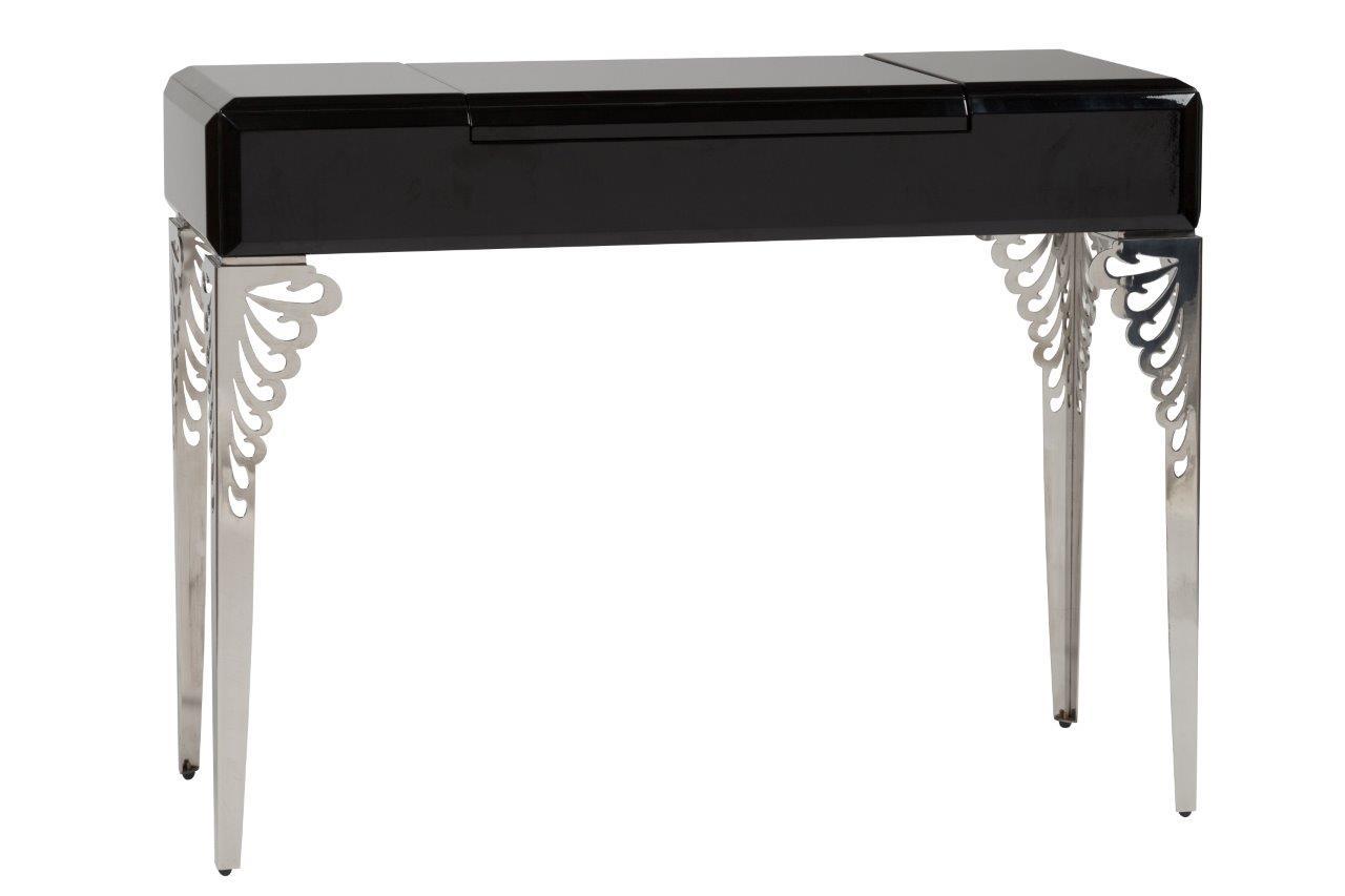 Туалетный столик с зеркалом Triangl Black TwoТуалетные столики<br>Туалетный столик — это вещь, которая пригодится каждой женщине. На таком столике можно расставить всю косметику и другие красивые и приятные вещи, и тогда это будет идеальное место для создания красивого образа каждый день! Туалетный столик Triangl Black One — идеальный стол для почитательниц любого стиля. Этот предмет мебели станет украшением комнаты прекрасной леди, и у вас будет все под рукой для того, чтобы нанести макияж и сделать прическу. Стол выполнен в черном цвете, на столешнице имеется откидное зеркало, а внутри — отделения для мелочей. Ножки стола выполнены в серебристом цвете и украшены резьбой сверху. Один взгляд на этот замечательный столик улучшает настроение. Хороший выбор, если вы хотите приобрести его для себя, любимой, или в подарок!<br><br>Material: Дерево<br>Width см: 120<br>Depth см: 41,5<br>Height см: 75