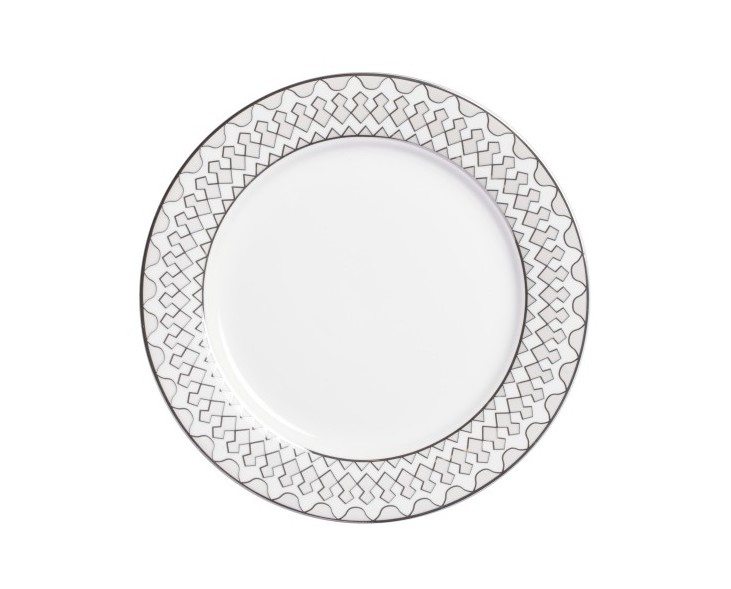 Тарелка Geometria SmallТарелки<br>Тарелка классической формы изготовлена из фарфора белого цвета  с нанесением по краю геометрического орнамента  в сером цвете. Тарелка  декорирована  весьма элегантно, и заслуживает внимания покупателей.  Тарелку   можно приобрести отдельно или в комплекте с другими столовыми предметами  из серии.<br><br>Material: Фарфор<br>Height см: 1<br>Diameter см: 20