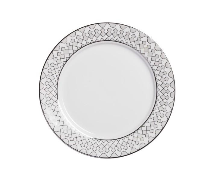 Тарелка Geometria LargeТарелки<br>Тарелка классической формы изготовлена из фарфора белого цвета  с нанесением по краю геометрического орнамента  в сером цвете. Тарелка  декорирована  весьма элегантно, и заслуживает внимания покупателей.  Тарелку   можно приобрести отдельно или в комплекте с другими столовыми предметами  из серии.<br><br>Material: Фарфор<br>Height см: 1<br>Diameter см: 25