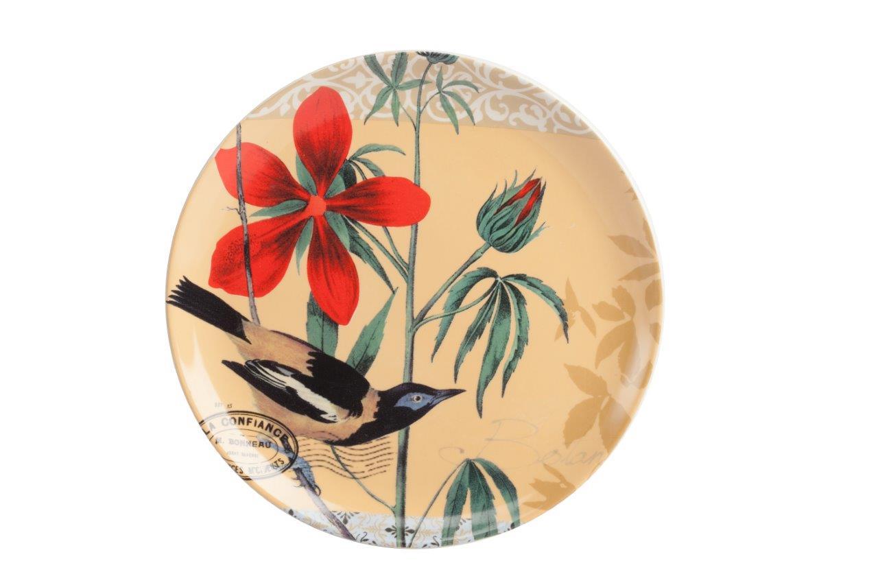 Тарелка Montecito PeachДекоративные тарелки<br>Тарелка Montecito Peach выполнена из керамики в персиковом цвете, круглой формы. По всей поверхности нанесен рисунок в виде птички и красного цветка, а также почтовая символика в виде штемпеля и печати. Возможно, вам захочется выбрать тарелку в качестве подарка.<br><br>Material: Керамика<br>Height см: 2,3<br>Diameter см: 21,8