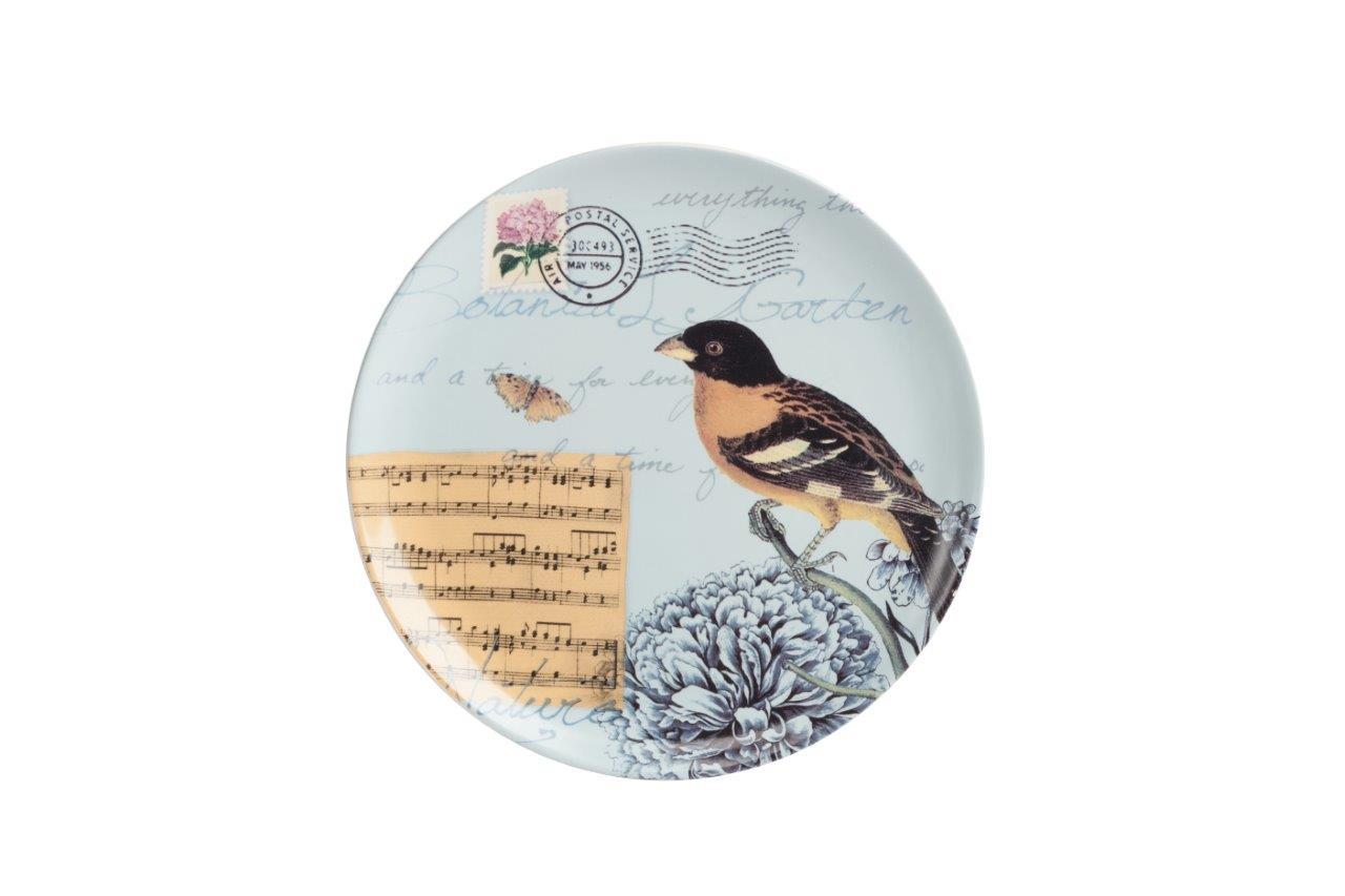 Тарелка Montecito TurquoiseДекоративные тарелки<br>Тарелка Montecito Turquoise выполнена из грубой керамики в голубом цвете. По всей поверхности нанесен рисунок в виде соловья и нот, а также почтовая символика в виде штемпеля и печати. Тарелку можно приобрести как отдельно, так и в сочетании с другими предметами этой коллекции.<br><br>Material: Керамика<br>Height см: 2,3<br>Diameter см: 21,8