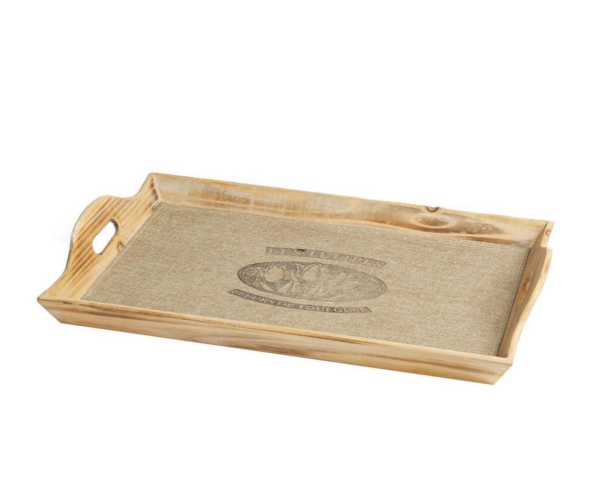 Поднос Les TulipesДекоративные подносы<br>Поднос Les Tulipes Medio — с виду простой, но бесконечно симпатичный элемент декора кухни, а также отличный помощник при сервировке стола и подачи блюд. Аксессуар изготовлен из дерева, что делает его не только прочным, но и экологически чистым. Высокие борта подноса позволяют переносить посуду без риска её разбить. Вы можете приобрести изделие отдельно или в комплекте с предметами той же коллекции.<br><br>Material: Дерево<br>Length см: 33<br>Width см: 53<br>Depth см: None<br>Height см: 6,5<br>Diameter см: None