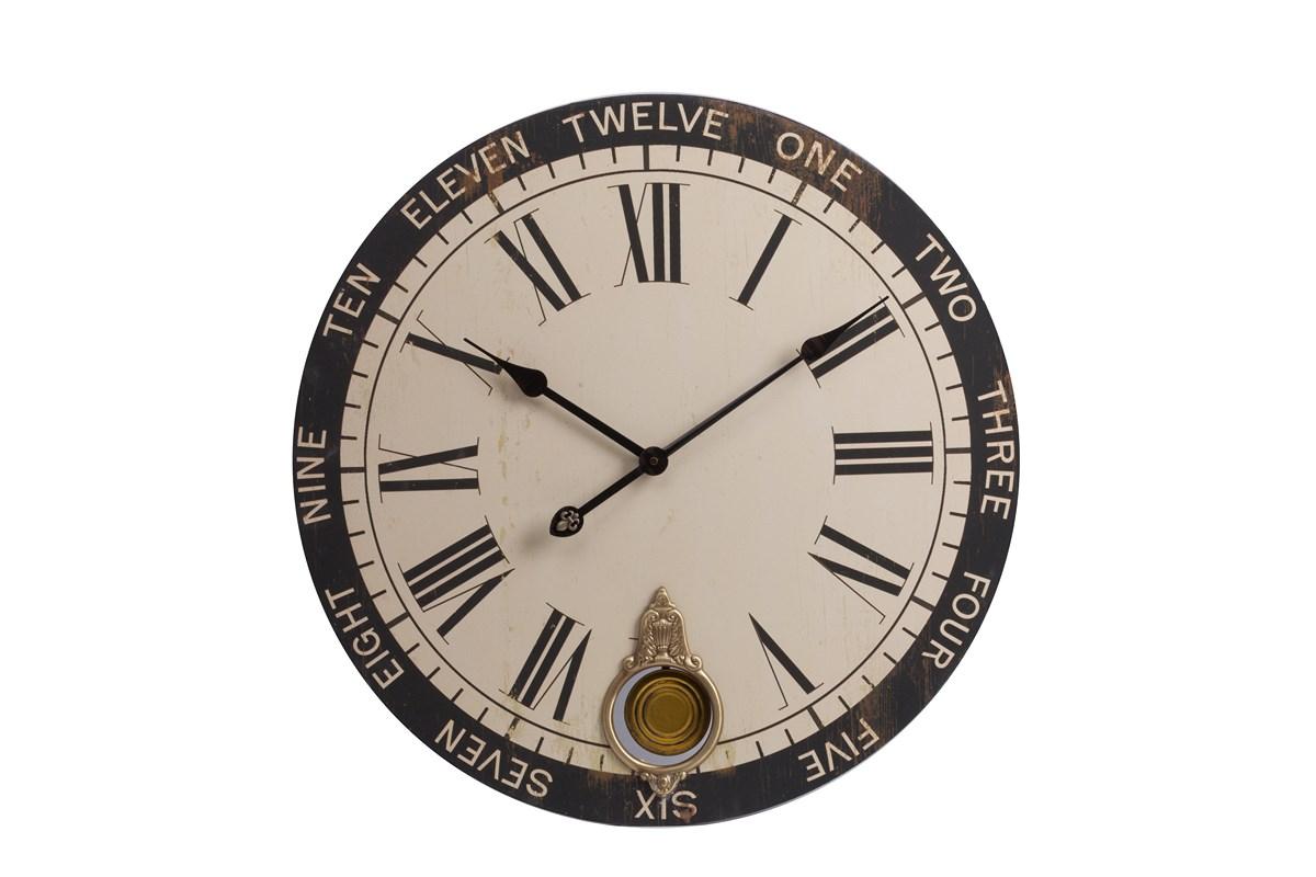 Настенные часы с маятником Charles  DerrievНастенные часы<br>Настенные часы с маятником Charles Derriev украсят любую комнату в вашем доме, будь то гостиная, спальня или кухня, добавят ей уюта и тепла, а также станут превосходным предметом декора стен. Приятный мягкий цвет циферблата удачно подчеркнет спокойные оттенки стен, добавляя им некую изюминку. Часы особенно гармонично будут смотреться в интерьере, оформленном в стиле Прованс.&amp;amp;nbsp;Кварцевый механизм.<br><br>Material: Дерево<br>Depth см: 5<br>Diameter см: 59