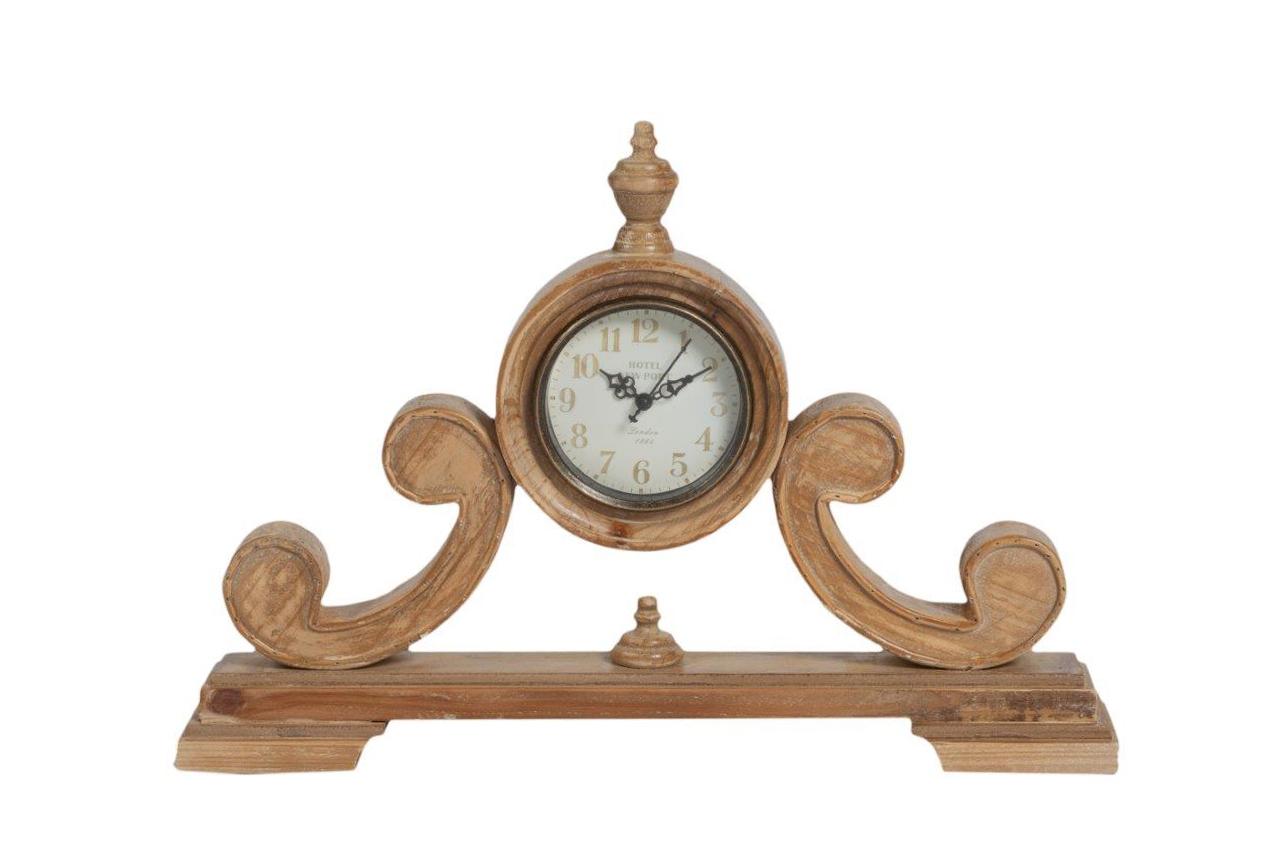 Настольные часы AberturaНастольные часы<br>Настольные часы Abertura — бесконечно симпатичный элемент декора помещения, оформленного в стиле Прованс. Искусственные потертости и трещинки по всей поверхности деревянного основания придают ему особую изысканность и неповторимость. Оригинальное дизайнерское решение и высококачественное исполнение создают, в результате, долговечный и роскошный аксессуар.&amp;amp;nbsp;Кварцевый механизм.<br><br>Material: Дерево<br>Width см: 48,5<br>Depth см: 9<br>Height см: 34,5