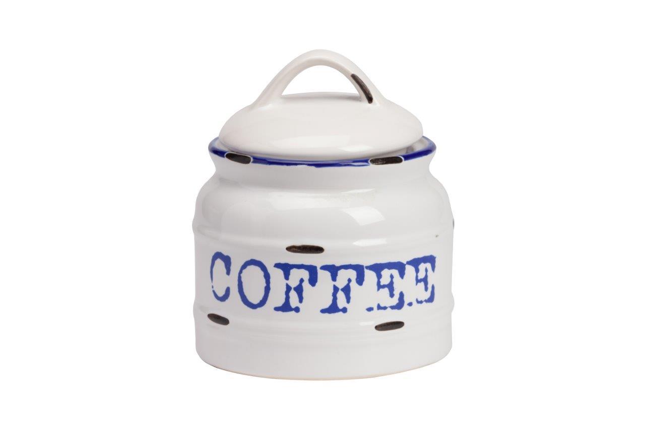 Емкость для хранения Thomasina Coffee MedioЕмкости для хранения<br>Ёмкость для хранения Thomasina Coffee Medio выполнена из керамики, покрытой глазурью белого цвета. Декорирована надписью синего цвета COFFEE. Крышка снабжена удобной ручкой. ёмкость изготовлена из совершенно безопасного натурального материала. Кофе, который вы будете хранить в этой банке, никогда не утратит свой аромат. Полный набор банок из коллекции Thomasina обязательно должен быть на кухне любой хозяйки дома.<br><br>Material: Керамика<br>Height см: 10<br>Diameter см: 12