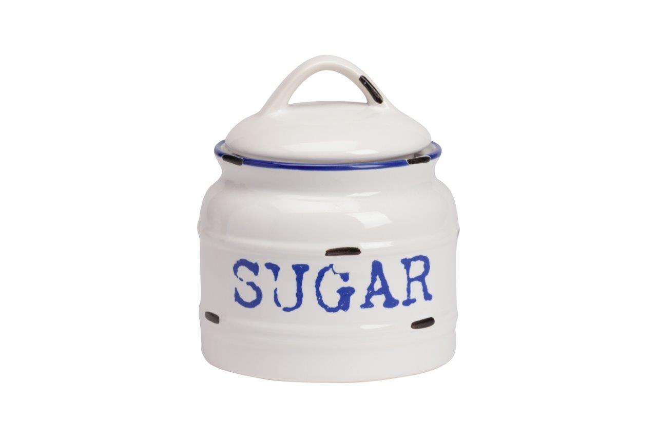 Емкость для хранения Thomasina Sugar MedioЕмкости для хранения<br>Ёмкость для хранения Thomasina Sugar Medio выполнена из керамики, покрытой глазурью белого цвета. Декорирована надписью синего цвета SUGAR. Крышка снабжена удобной ручкой. Изготовлена из совершенно безопасного натурального материала. Сахар, который вы будете хранить в этой банке, никогда не напитается лишней влагой. Полный набор банок из коллекции Thomasina обязательно должен быть на кухне любой хозяйки дома.<br><br>Material: Керамика<br>Height см: 10<br>Diameter см: 12