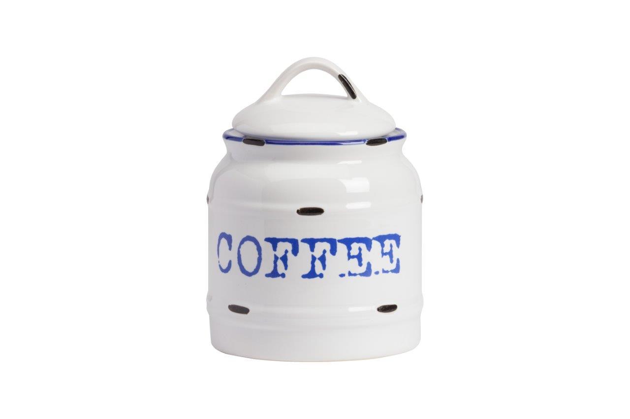 Емкость для хранения Thomasina Coffee GrandeЕмкости для хранения<br>Ёмкость для хранения Thomasina Coffee Grande выполнена из керамики, покрытой глазурью белого цвета. Декорирована надписью синего цвета COFFEE. Крышка снабжена удобной ручкой. ёмкость изготовлена из совершенно безопасного натурального материала. Кофе, который вы будете хранить в этой банке, никогда не утратит свой аромат. Полный набор банок из коллекции Thomasina обязательно должен быть на кухне любой хозяйки дома.<br><br>Material: Керамика<br>Height см: 17<br>Diameter см: 12