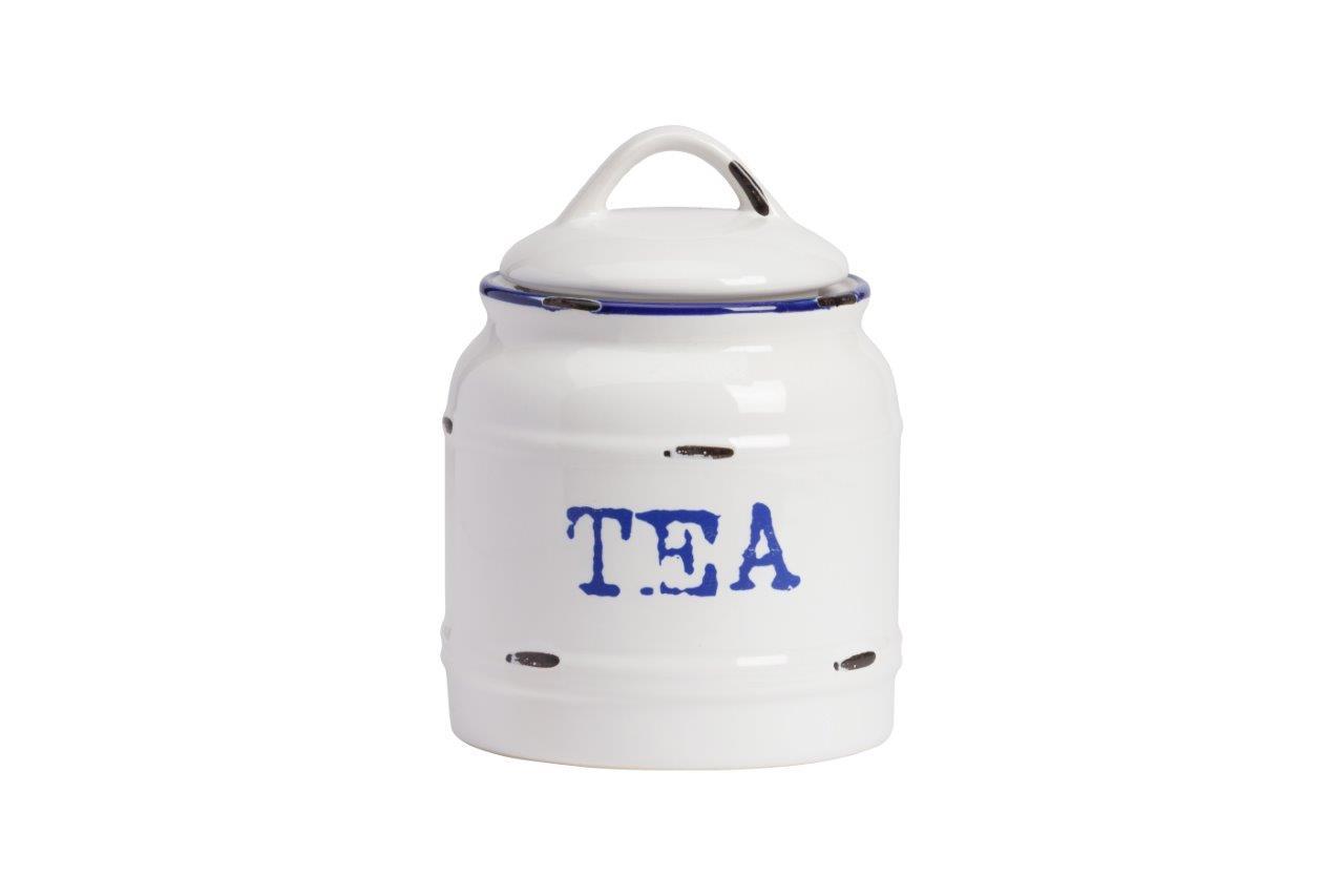 Емкость для хранения Thomasina Tea GrandeЕмкости для хранения<br>Ёмкость для хранения Thomasina Tea Grande выполнена из керамики, покрытой глазурью белого цвета. Декорирована надписью синего цвета TEA. Крышка снабжена удобной ручкой. ёмкость изготовлена из совершенно безопасного натурального материала. Чай, который вы будете хранить в этой банке, никогда не утратит своей свежести. Полный набор банок из коллекции Thomasina обязательно должен быть на кухне любой хозяйки дома.<br><br>Material: Керамика<br>Height см: 17<br>Diameter см: 12