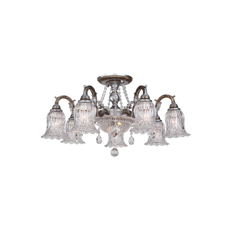 Люстра потолочная TinaЛюстры потолочные<br>Люстра потолочная в стиле Арт-Деко. Люстра с семью стеклянными плафонами, а также с подсветкой хрустального основания лампочкой LED. Люстра поставляется в разобранном виде и имеет в комплекте все необходимые для монтажа крепежные элементы.&amp;lt;div&amp;gt;&amp;lt;br&amp;gt;&amp;lt;/div&amp;gt;&amp;lt;div&amp;gt;&amp;lt;div&amp;gt;Цоколь: Е14/(+1 LED)&amp;lt;/div&amp;gt;&amp;lt;div&amp;gt;Мощность лампы: 40W/(мощность LED: 60W)&amp;lt;/div&amp;gt;&amp;lt;div&amp;gt;Количество ламп: 7/количество LED:1&amp;lt;/div&amp;gt;&amp;lt;div&amp;gt;В комплект входит только 1 LED лампочка&amp;lt;/div&amp;gt;&amp;lt;/div&amp;gt;<br><br>Material: Металл<br>Depth см: None<br>Height см: 40<br>Diameter см: 70