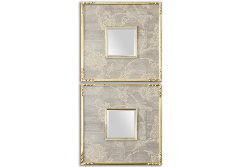 Комплект зеркал (2 шт)Настенные зеркала<br>Эти зеркала с широкими квадратными рамами представляют собой нежный и сдержанный декор, отменно подходящий для интерьеров в стиле прованс. Нейтральные цвета, безупречные пропорции, романтичные узоры растительных орнаментов создают удивительный по изысканности дизайн. Окантовка золотистыми линиями добавляет оформлению частицу скромной роскоши, которая хорошо дополняет мечтательный образ. В холле, гостиной или в ванной такие зеркала будут смотреться гармонично.<br><br>Material: Стекло<br>Length см: 51<br>Width см: 51<br>Depth см: 3<br>Height см: None<br>Diameter см: None