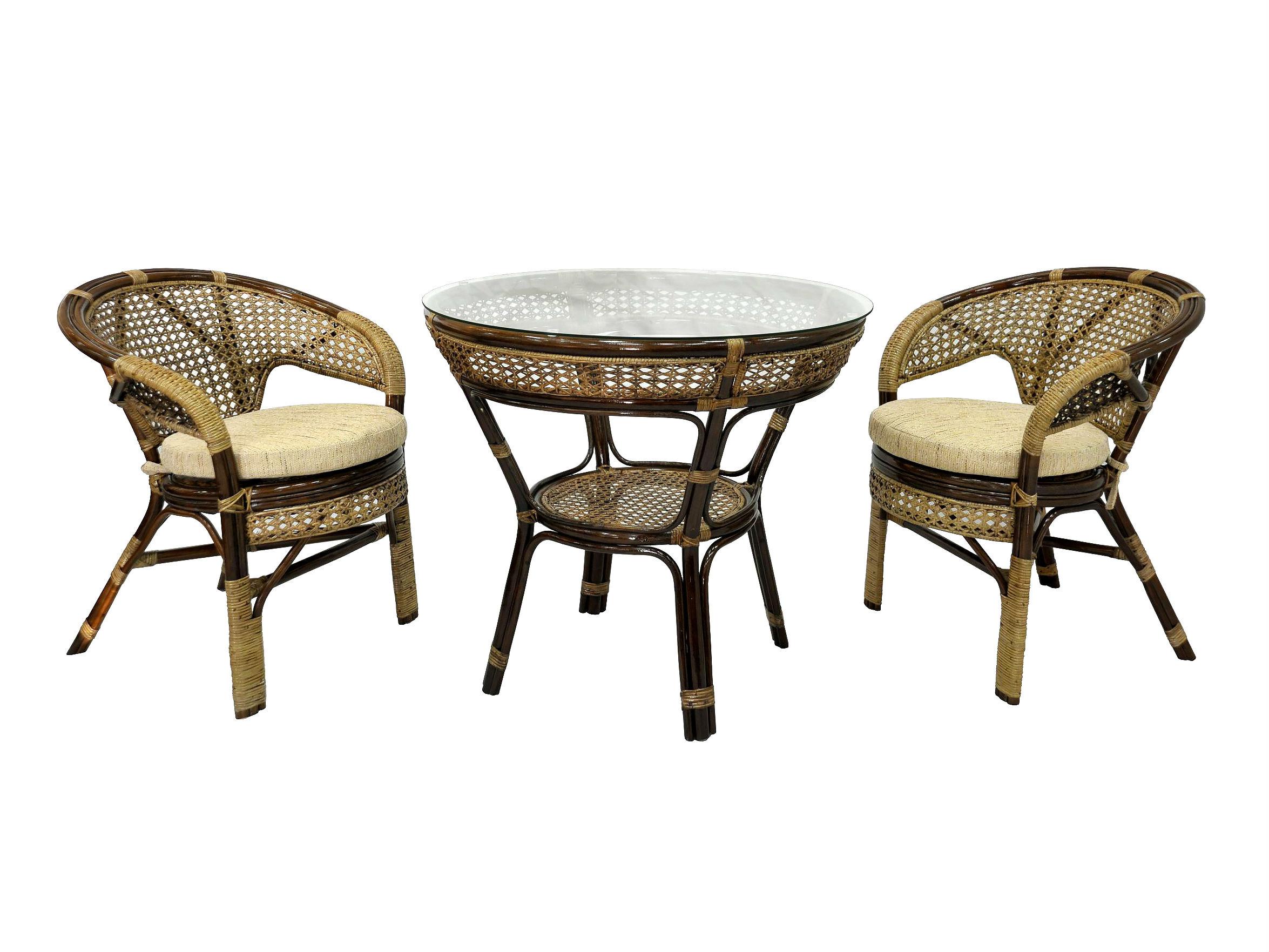 Комплект обеденный JavaКомплекты уличной мебели<br>Обеденный стол с плетением ручной работы на столешнице (под стеклом) и на полочке. Комплектация: два кресла, мягкие подушки (на сидение), столик со стеклом (на присосках).&amp;amp;nbsp;&amp;lt;div&amp;gt;&amp;lt;br&amp;gt;&amp;lt;/div&amp;gt;&amp;lt;div&amp;gt;Материал каркаса:  натуральный ротанг&amp;lt;/div&amp;gt;&amp;lt;div&amp;gt;Мягкая обивка/подушка:  ткань рогожка&amp;lt;/div&amp;gt;&amp;lt;div&amp;gt;Размер: столик со стеклом 83х75х83 см,  кресло 66х70х78 см&amp;lt;/div&amp;gt;&amp;lt;div&amp;gt;Выдерживаемая нагрузка, кг:  100&amp;lt;/div&amp;gt;<br><br>Material: Ротанг<br>Height см: 75<br>Diameter см: 83