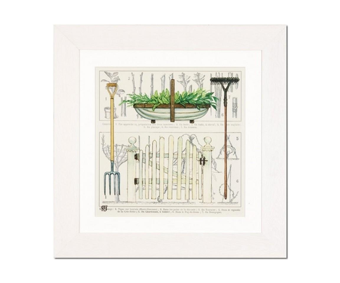 Принт Сад в рамеПостеры<br>Декоративная картина с принтом сада от датского бренда g&amp;amp;amp;c interiors. Добавьте позитивного настроения в гостиной или на кухне в эклектичном интерьере.<br><br>Material: Бумага<br>Width см: 40<br>Depth см: 3<br>Height см: 40