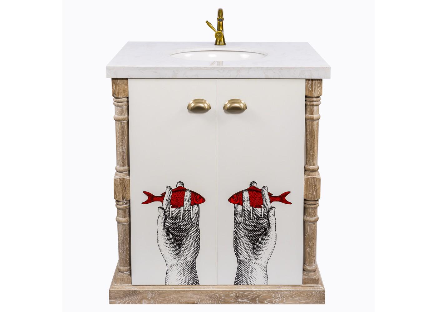 Тумба с раковиной Лина, версия ОкеанТумбы для ванной<br>Тумба для ванной комнаты &amp;quot;Океан&amp;quot; просторна, удобна, оригинальна и эстетична. Обладая широким бытовым и декоративным потенциалом, тумба устроит и практиков, и эстетов. Первым она предоставит идеальный органайзер, умещающий полный комплект парфюмерных и гигиенических средств. Вторые сочтут тумбу за арт-объект, возвышающий интерьер ослепительной свежестью и салонным глянцем.  Тумба &amp;quot;Океан&amp;quot; - эталон интерьерной эклектики, гармонично совместившей массу диаметральных жанров и эпох: французский дворцовый классицизм, английский стиль, &amp;quot;модерн&amp;quot;, &amp;quot;прованс&amp;quot;, &amp;quot;поп-арт&amp;quot;.<br>Помимо дизайнерских достоинств, мебель для ванной комнаты важна прочностью, влагостойкостью и гигиеничностью. Этим важным практическим параметрам полностью отвечает тумба, выполненная из натурального дуба, керамики и мрамора. Важным достоинством древесины дуба является его стойкость к влаге. Недаром эту породу издавна использовали для постройки судов. Природная фактура натурального дерева акцентирована уютной светлой патиной.<br>Ручная работа одухотворяет предметы мебели, вносит эмоции тепла и персональной заботы.<br>Удобством столешницы является прорезь для одного крана (в комплект не входит)<br>Не упустите случая обладания уникальной дизайнерской мебелью. Версия &amp;quot;Океан&amp;quot; выпущена лимитированными экземплярами.<br>&amp;lt;div&amp;gt;&amp;lt;br&amp;gt;&amp;lt;/div&amp;gt;&amp;lt;div&amp;gt;Материал: мрамор, керамика&amp;lt;br&amp;gt;&amp;lt;/div&amp;gt;<br><br>Material: Дуб<br>Width см: 80<br>Depth см: 60<br>Height см: 90