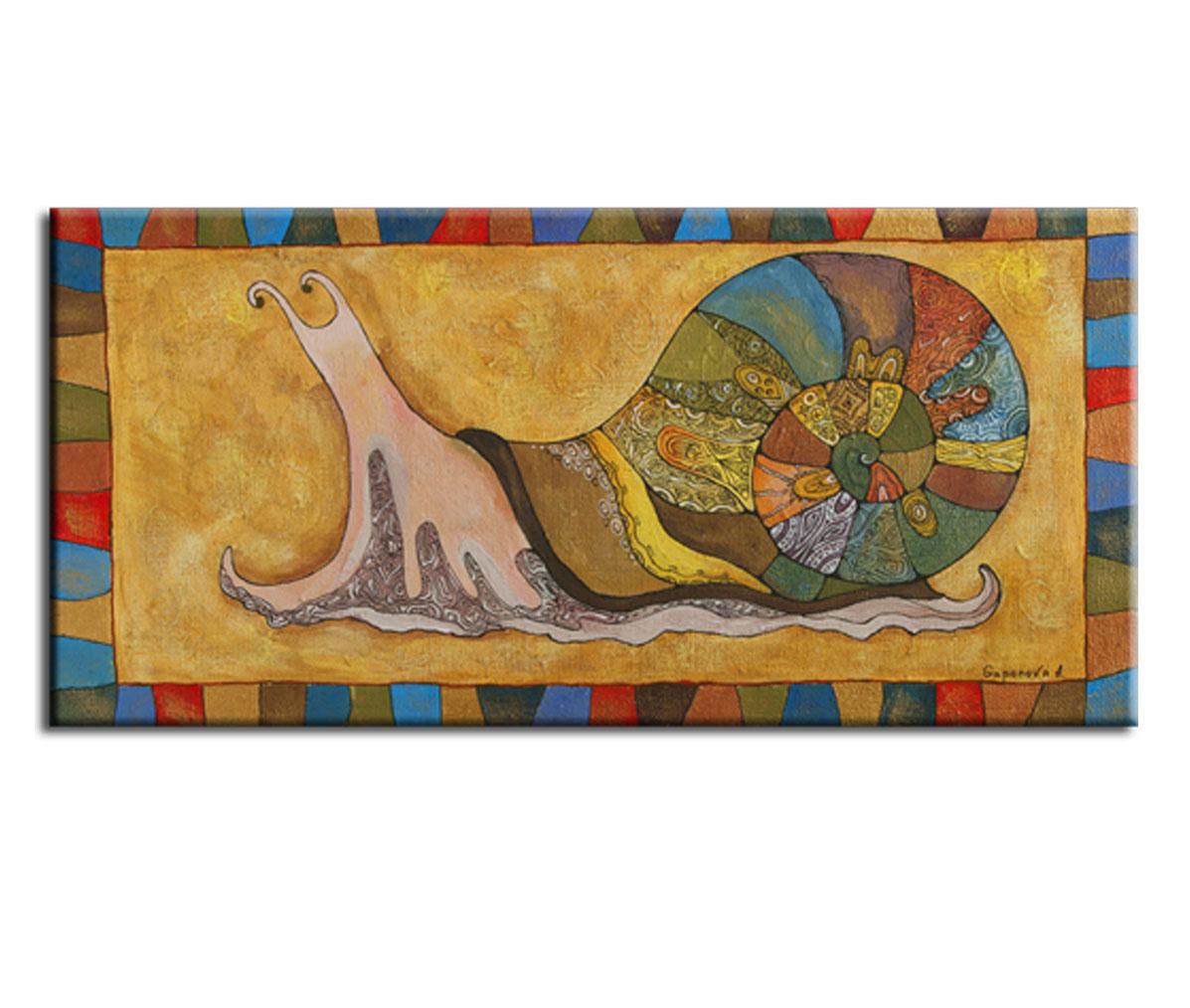 Картина Улитка ПутешественницаКартины<br>Авторская копия картины художницы Анны Гапоновой с декоративной фактурной обработкой&amp;lt;div&amp;gt;&amp;lt;br&amp;gt;&amp;lt;/div&amp;gt;&amp;lt;div&amp;gt;Материал: натуральный холст, деревянный подрамник, лак,итальянский фактурный гель&amp;lt;br&amp;gt;&amp;lt;/div&amp;gt;<br><br>Material: Холст<br>Width см: 105<br>Depth см: 3<br>Height см: 50