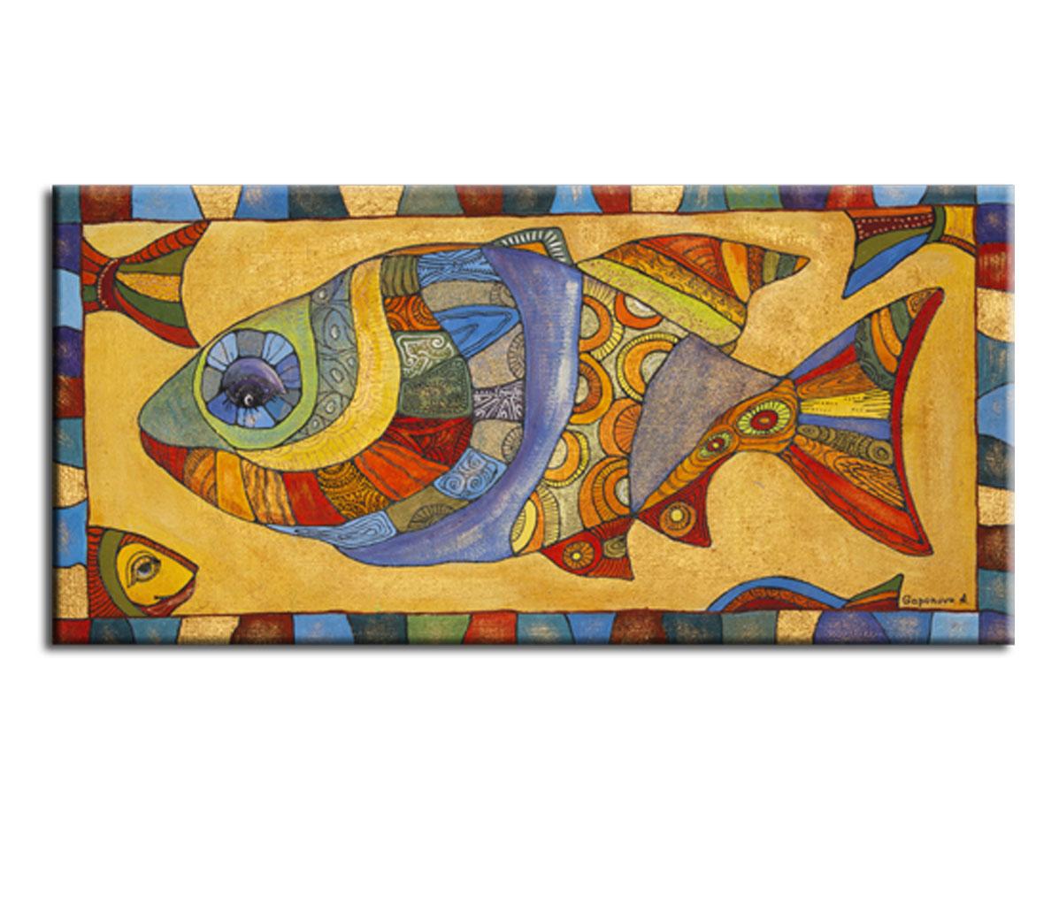 Картина Орнаментальная рыбкаКартины<br>Авторская копия картины художницы Анны Гапоновой с декоративной фактурной обработкой&amp;lt;div&amp;gt;&amp;lt;br&amp;gt;&amp;lt;/div&amp;gt;&amp;lt;div&amp;gt;Материал: натуральный холст, деревянный подрамник, лак,итальянский фактурный гель&amp;lt;br&amp;gt;&amp;lt;/div&amp;gt;<br><br>Material: Холст<br>Width см: 60<br>Depth см: 3<br>Height см: 30