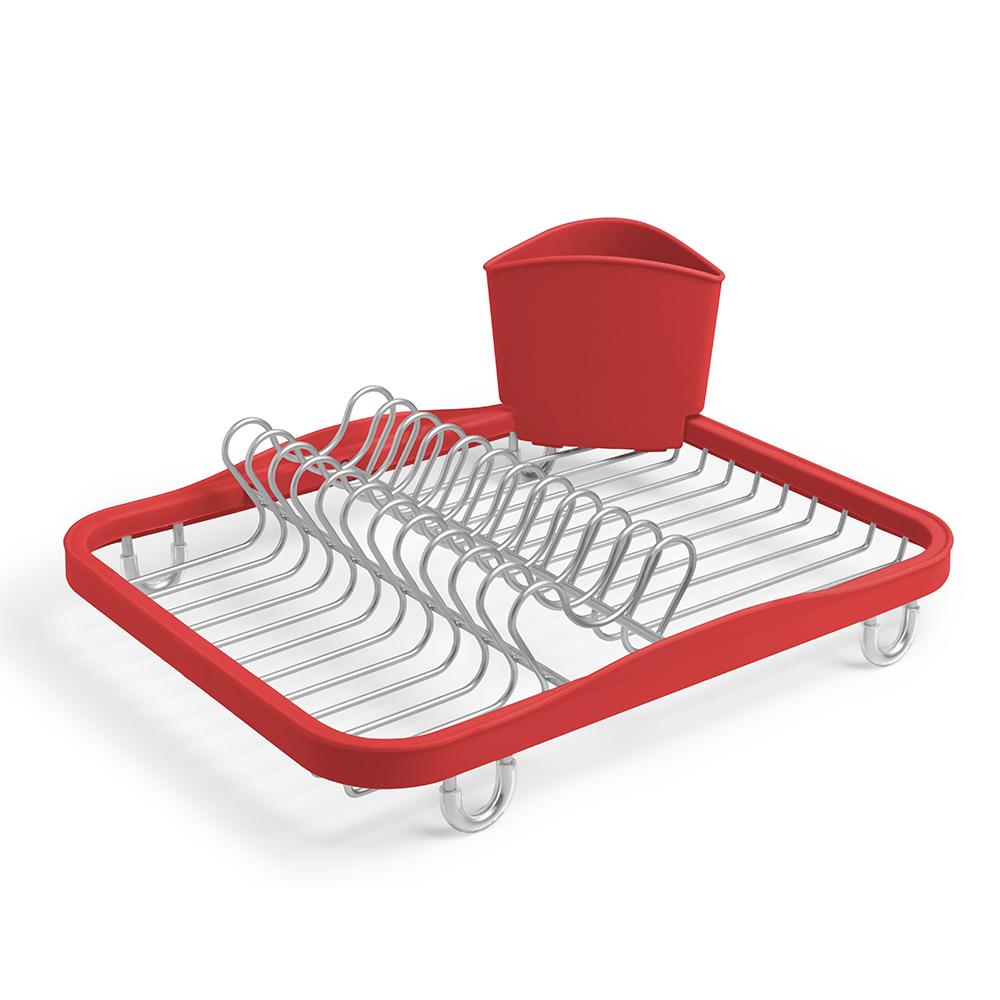 Сушилка для посуды SinkinАксессуары для кухни<br>Функциональная сушилка Sinkin в новой цветовой вариации. Предусмотрены отсеки для тарелок и чашек. Съемный пластиковый контейнер удобен для сушки столовых приборов. Благодаря специальным ножкам вода стекает в раковину, не застаиваясь под посудой. Пластиковые насадки на ножках оберегают раковину от царапин.  Металлическая решетка и пластиковое обрамление легко очищаются от загрязнений. <br><br>Дизайн: Helen T. Miller<br><br>Material: Металл<br>Length см: 34,9<br>Width см: 26,7<br>Height см: 8,9