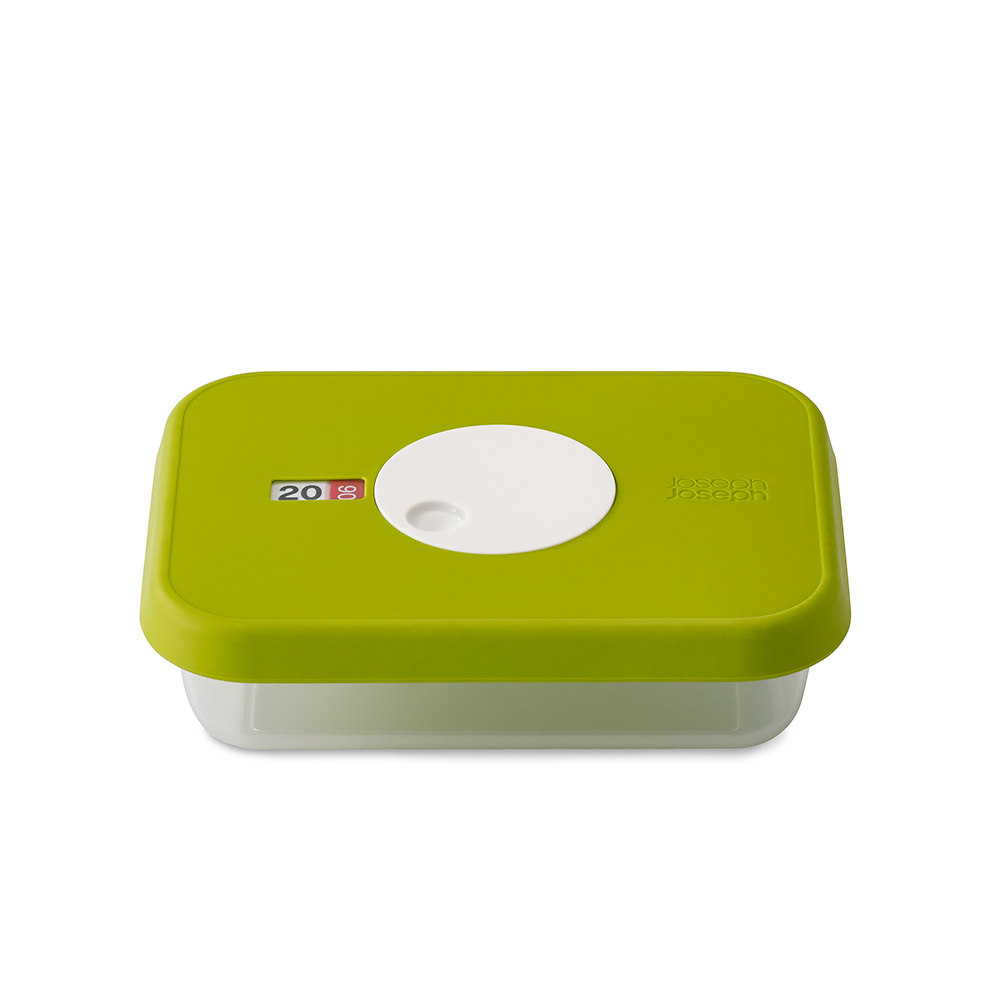 Датируемый контейнер для хранения продуктов DialЕмкости для хранения<br>Прямоугольный контейнер для хранения продуктов вместимостью 0.7 литров. Идеально подходит для хранения мяса, салатов, фруктов. Инновационная система датировки позволяет контролировать свежесть продуктов, планировать рацион и уменьшать количество отходов.  Просто поверните циферблат по часовой стрелке для выставления даты и против часовой даты – для указания месяца.  Контейнер не содержит вредный  Бисфенол А, благодаря чему его можно безопасно разогревать в микроволновой печи.&amp;lt;div&amp;gt;&amp;lt;br&amp;gt;&amp;lt;/div&amp;gt;&amp;lt;div&amp;gt;Объем: 0.7 л.&amp;lt;br&amp;gt;&amp;lt;/div&amp;gt;<br><br>Material: Пластик<br>Length см: 14,1<br>Width см: 18,1<br>Depth см: None<br>Height см: 5,3
