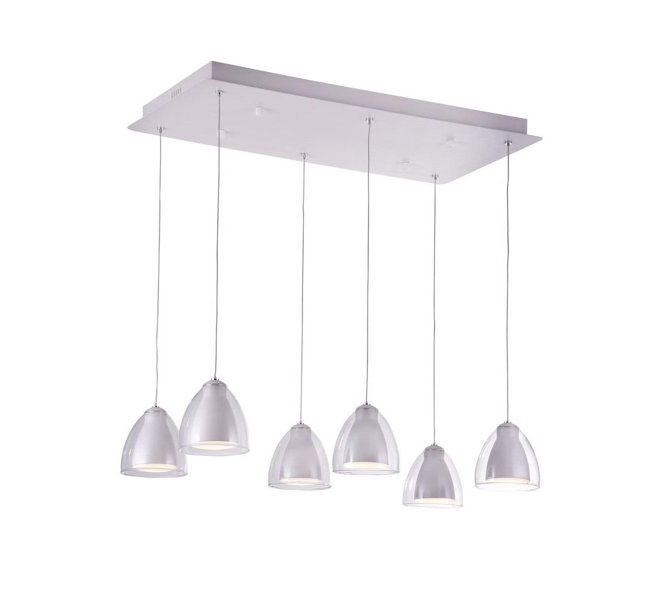 Светильник подвесной MirellaЛюстры подвесные<br>Светодиодный подвесной светильник в стиле Хай-Тек. Светильник со встроенной светодиодной матрицей общей мощностью 18W (Эквивалент лампы накаливания 120 W). Цветовая температура 4000-4200К. <br>Высоту подвеса светильника можно регулировать от 20см до 100см.<br>Светильник поставляется в собранном виде и имеет в комплекте все необходимые для монтажа крепежные элементы.&amp;lt;div&amp;gt;&amp;lt;br&amp;gt;&amp;lt;/div&amp;gt;&amp;lt;div&amp;gt;&amp;lt;div&amp;gt;Цоколь: LED&amp;lt;/div&amp;gt;&amp;lt;div&amp;gt;Мощность лампы: 18W&amp;lt;/div&amp;gt;&amp;lt;div&amp;gt;Количество ламп: 6&amp;lt;/div&amp;gt;&amp;lt;/div&amp;gt;<br><br>Material: Металл<br>Width см: 70<br>Depth см: 35<br>Height см: 100