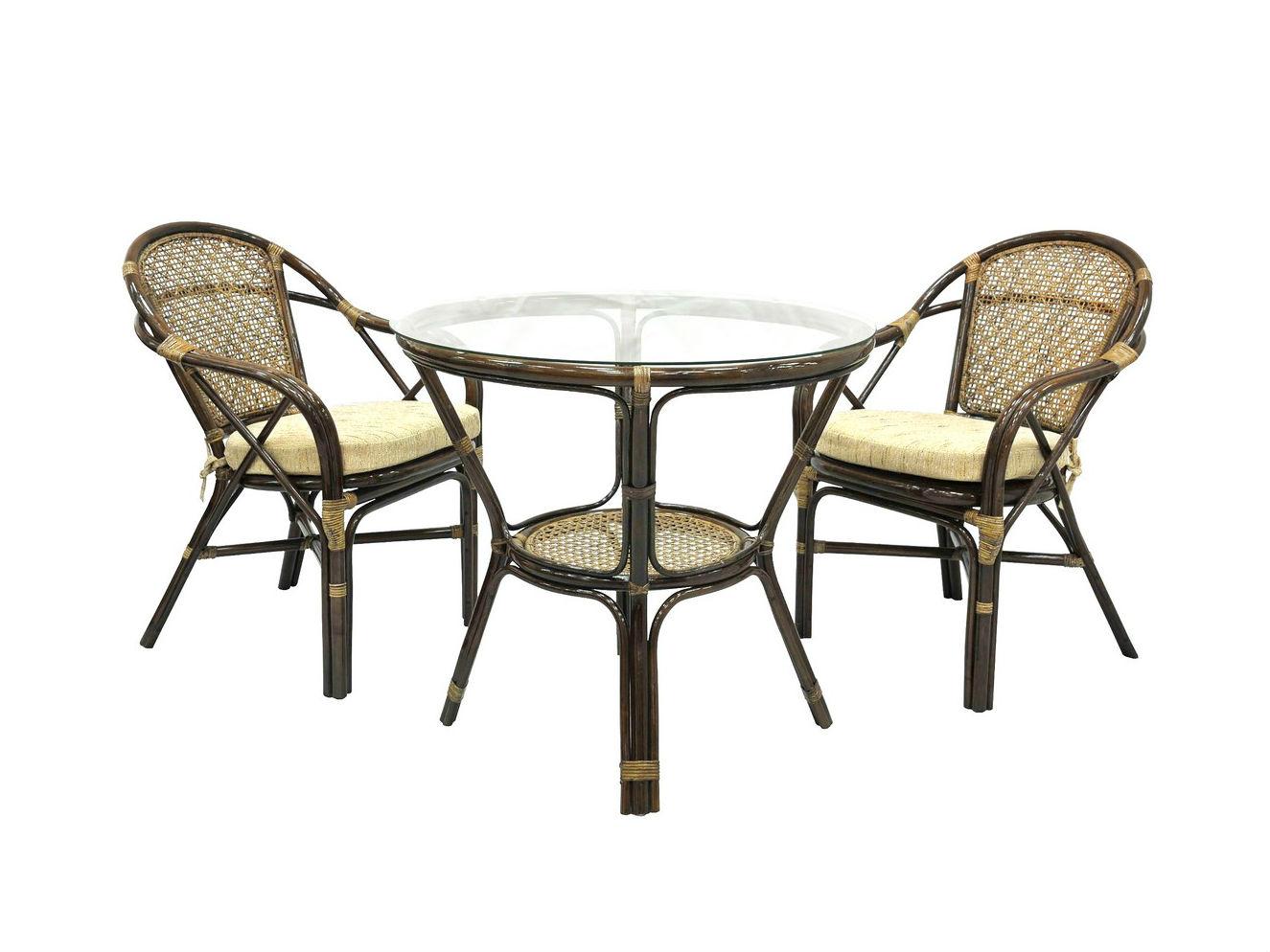 Комплект обеденный EllenaКомплекты уличной мебели<br>Комплектация: два стула, мягкие подушки (на сидение), столик со стеклом (на присосках).&amp;amp;nbsp;&amp;lt;div&amp;gt;&amp;lt;br&amp;gt;&amp;lt;/div&amp;gt;&amp;lt;div&amp;gt;Материал каркаса:  натуральный ротанг&amp;lt;/div&amp;gt;&amp;lt;div&amp;gt;Мягкая обивка/подушка:  ткань рогожка&amp;lt;/div&amp;gt;&amp;lt;div&amp;gt;Размер: столик со стеклом 78х74х78 см, стул 88х63х70 см&amp;lt;/div&amp;gt;&amp;lt;div&amp;gt;Выдерживаемая нагрузка, кг:  90&amp;lt;/div&amp;gt;<br><br>Material: Ротанг<br>Height см: 74<br>Diameter см: 78