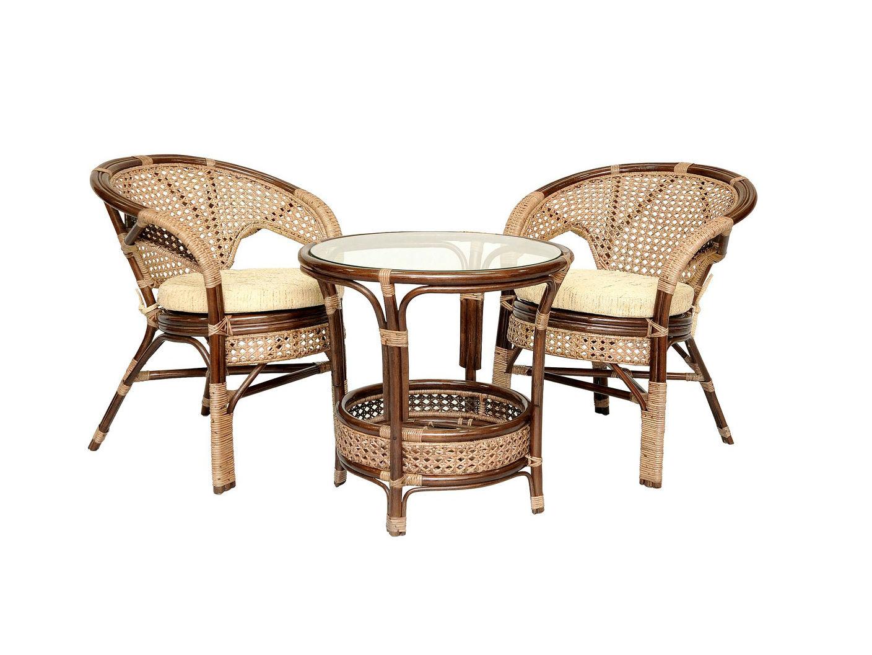 Комплект кофейный ПелангиКомплекты уличной мебели<br>Кофейный комплект «Пеланги Б» на двоих. Несмотря на изящное плетение из ротанга, этот комплект мебели может выдерживать большой вес. Важным достоинством является анатомическая спинка и сплошное ротанговое плетение сидения и спинки, что позволяет использовать комплект без подушки.&amp;lt;div&amp;gt;&amp;lt;br&amp;gt;&amp;lt;/div&amp;gt;&amp;lt;div&amp;gt;Комплектация: два кресла, мягкие подушки (на сидение), столик со стеклом (вставляется в паз)&amp;lt;/div&amp;gt;&amp;lt;div&amp;gt;Материал каркаса:  натуральный ротанг&amp;lt;/div&amp;gt;&amp;lt;div&amp;gt;Мягкая обивка/подушка:  ткань рогожка&amp;lt;/div&amp;gt;&amp;lt;div&amp;gt;Размер: кресло 66х70х78 см, стол 61х64х61 см&amp;lt;/div&amp;gt;&amp;lt;div&amp;gt;Выдерживаемая нагрузка, кг:  100&amp;lt;/div&amp;gt;<br><br>Material: Ротанг<br>Ширина см: 66<br>Высота см: 78<br>Глубина см: 70