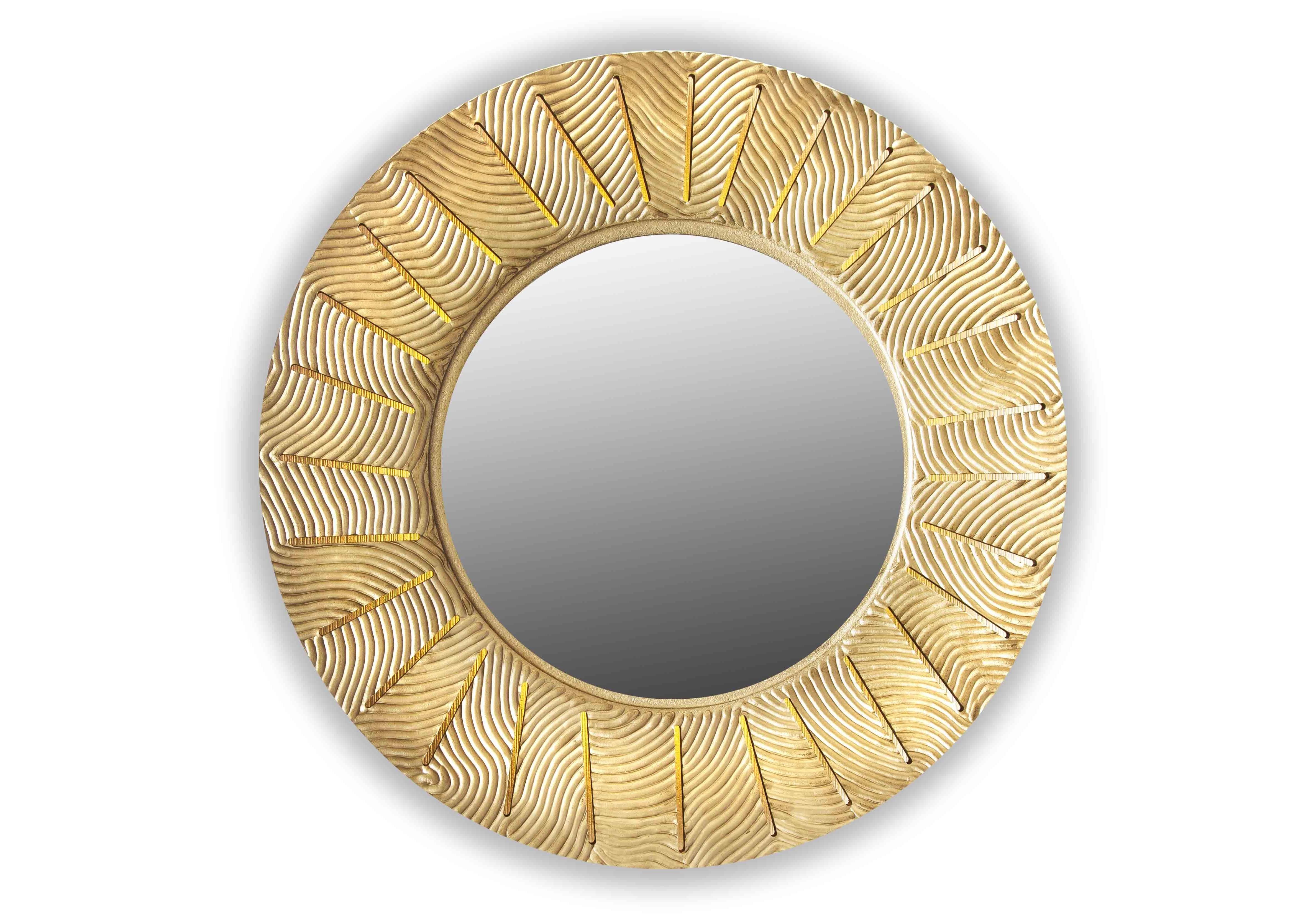 Зеркало SunshineНастенные зеркала<br>&amp;lt;span style=&amp;quot;line-height: 24.9999px;&amp;quot;&amp;gt;Круглое зеркало в резной раме из натуральной древесины – очень эклектично. В этой детали есть и современная практичность, и романтичные этнические нотки. Багет – полностью ручная резка вплоть до мельчайшего изгиба сложного рисунка. Подсветка из 4 светодиодов мягко освещает зеркальную гладь. Размер изделия составляет 990х990 мм, толщина – 7см, вес – 7 кг.&amp;lt;/span&amp;gt;<br><br>Material: Дерево<br>Width см: None<br>Depth см: 0,8<br>Height см: None<br>Diameter см: 90